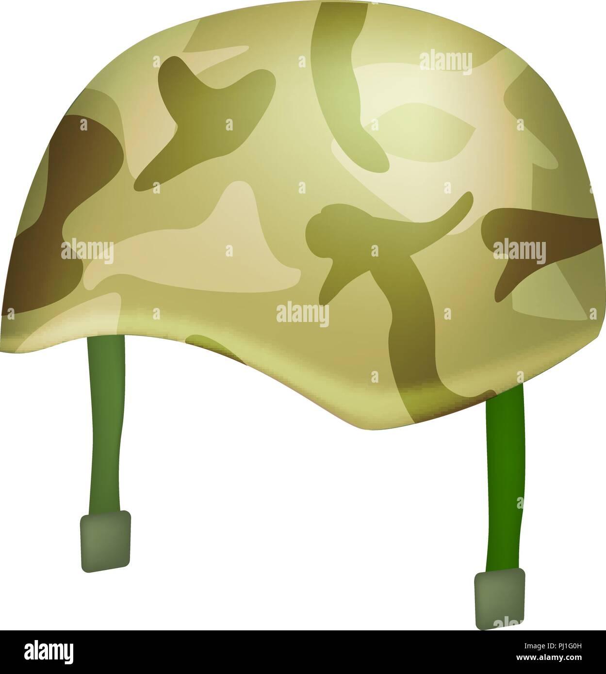 Camo helmet mockup, realistic style - Stock Image