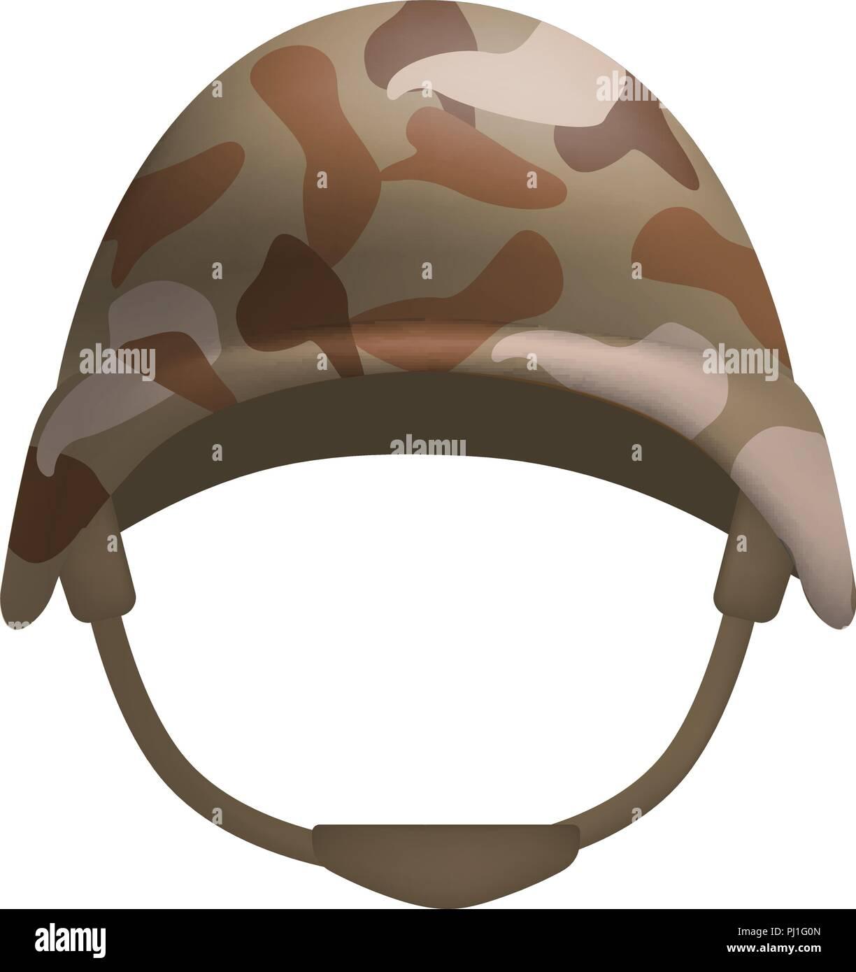 Desert camo helmet mockup, realistic style - Stock Image
