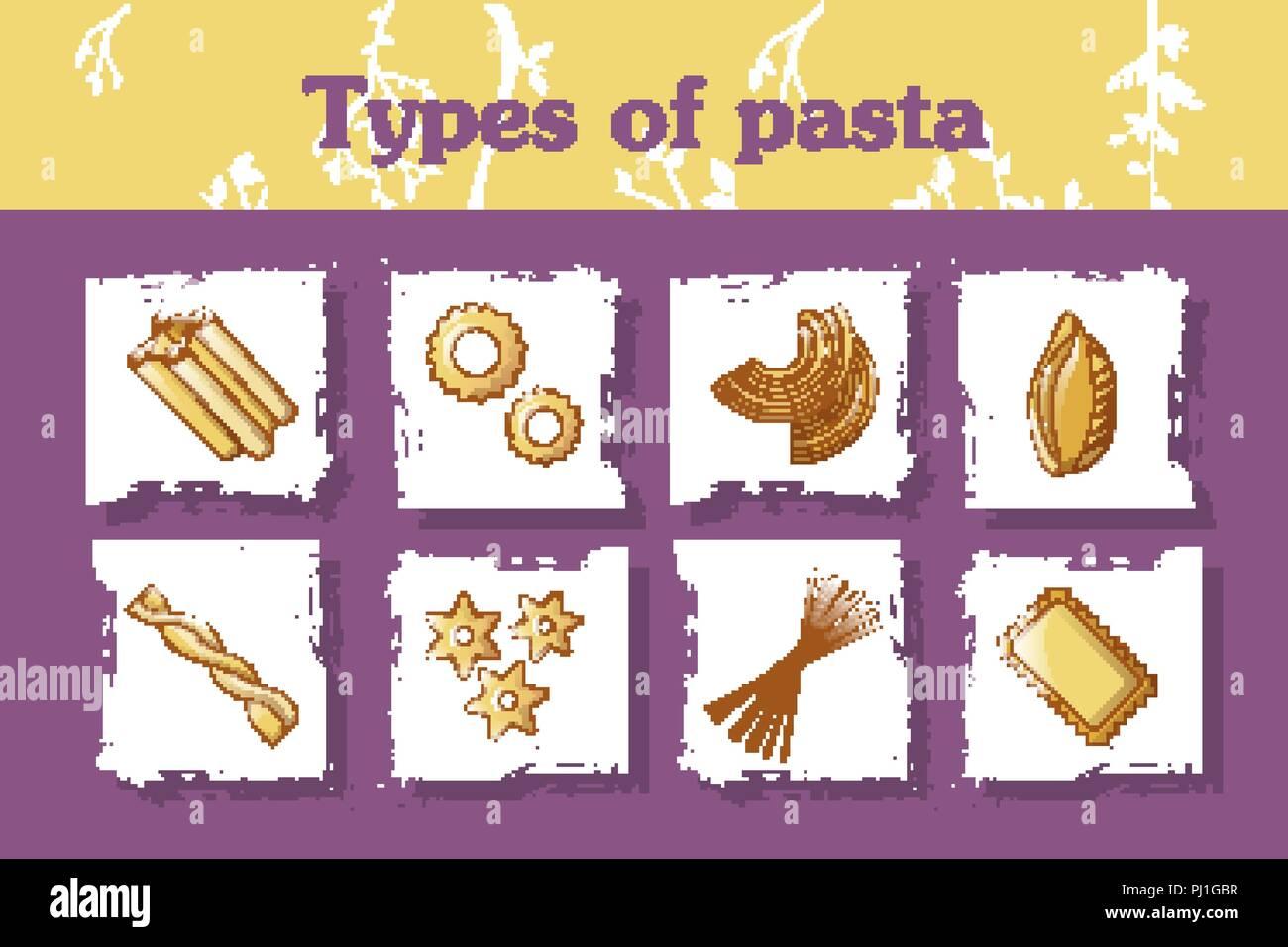 Types of italian pasta concept background, cartoon style Stock Vector