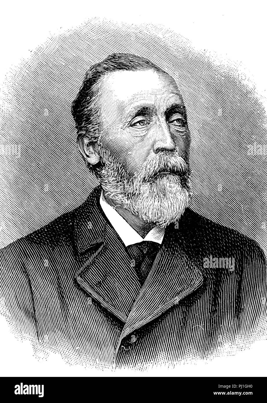 Heinrich von Stephan, Ernst Heinrich Wilhelm Stephan, January 7, 1831 – April 8, 1897, general post director for the German Empire, digital improved reproduction of an woodprint from the year 1890 Stock Photo