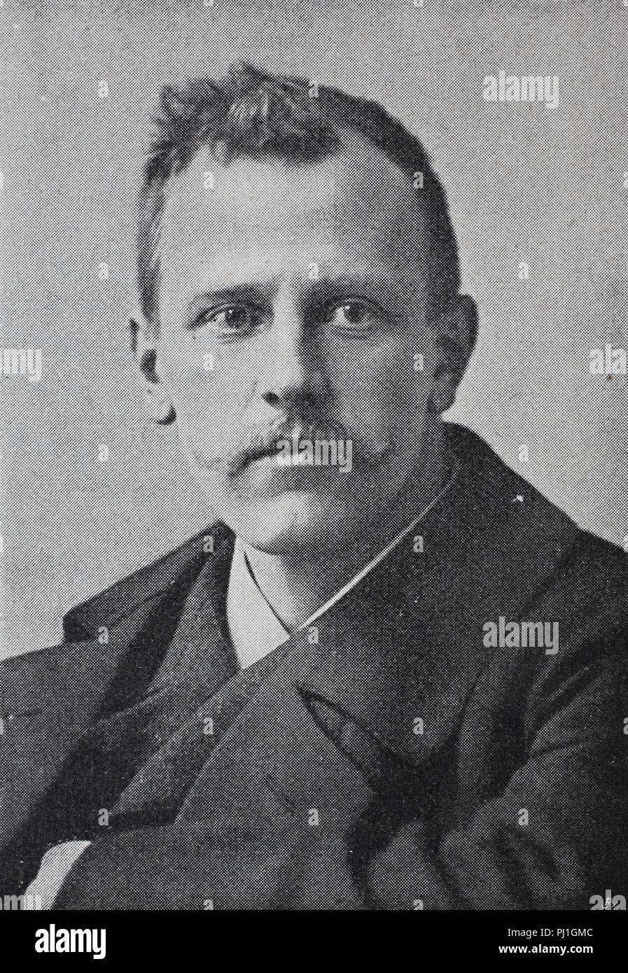 Fridtjof Nansen, 10 October 1861 – 13 May 1930, was a Norwegian explorer, scientist, digital improved reproduction of an woodprint from the year 1890 - Stock Image