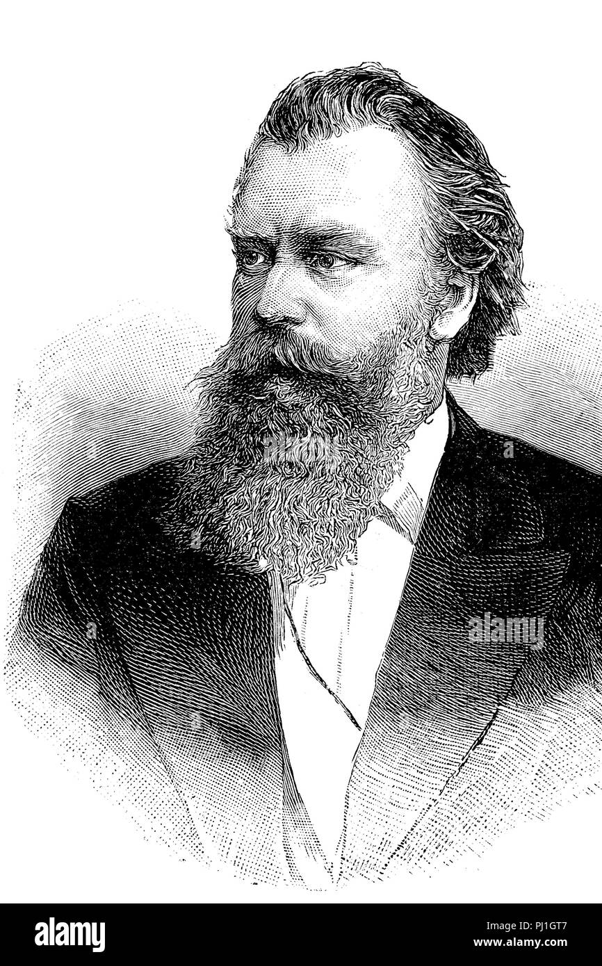 Johannes Brahms, 7 May 1833 – 3 April 1897, was a German composer and pianist, digital improved reproduction of an woodprint from the year 1890 - Stock Image