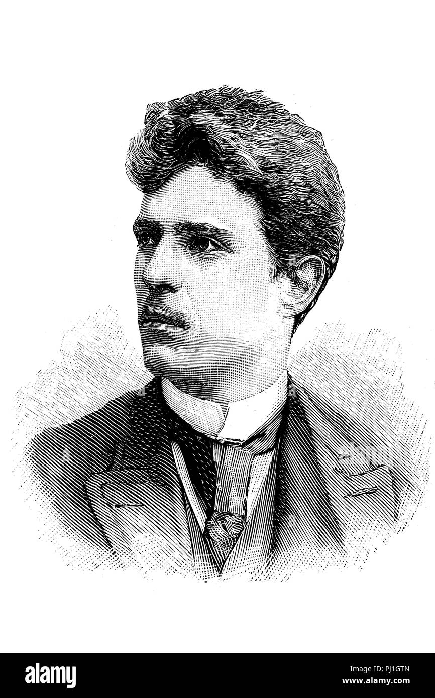 Pietro Antonio Stefano Mascagni, 7 December 1863 – 2 August 1945, was an Italian composer, digital improved reproduction of an woodprint from the year 1890 - Stock Image