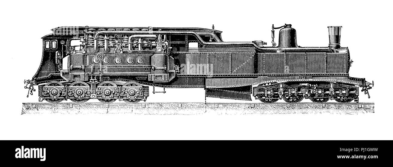 electric train locomotive construction by Jean-Jacques Heilmann, 1897, digital improved reproduction of an woodprint from the year 1890 Stock Photo