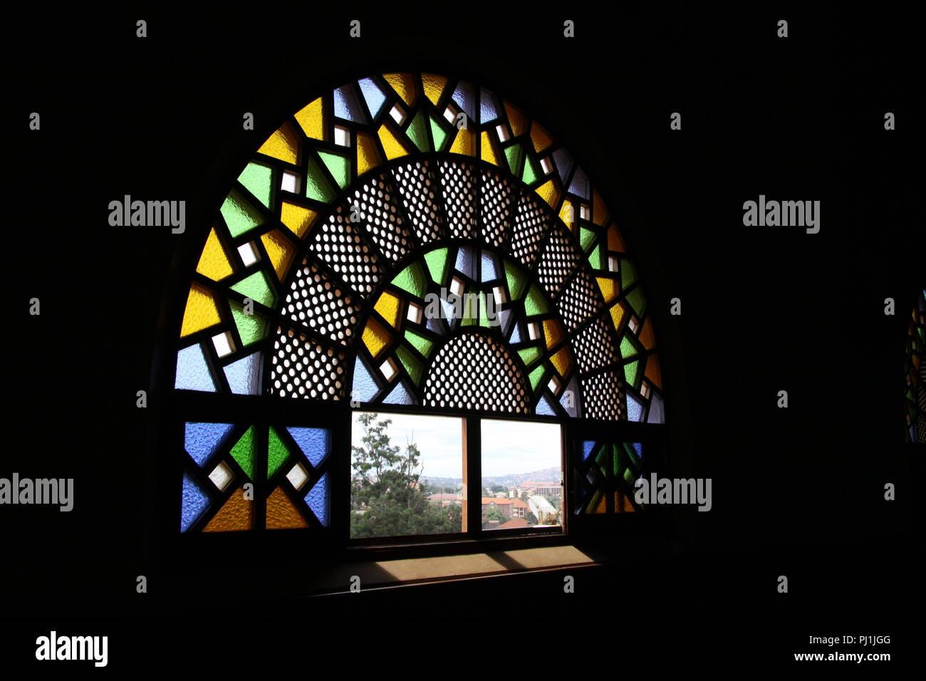 Window inside the Gaddafi Mosque, Kampala, Uganda - Stock Image