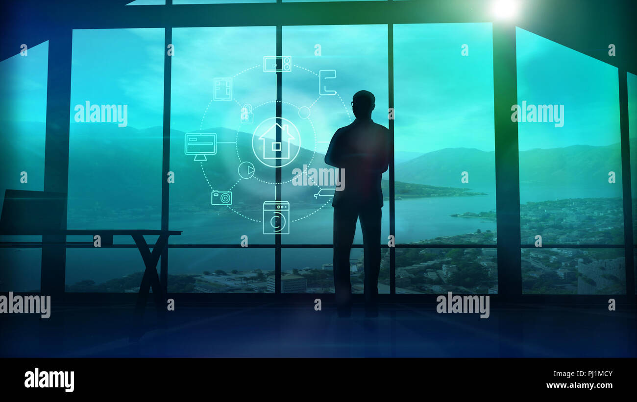 A man is standing by the window viewing IOT infographics elements. 3D illustration - Stock Image