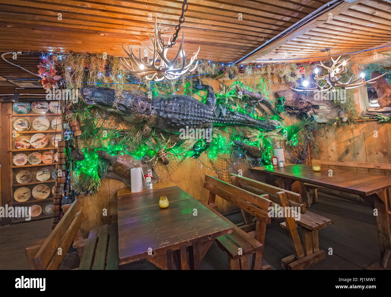 Clarks Fish Camp is a unique and rustic seafood restaurant located on Julington Creek, a tributary of the St. Johns River in Jacksonville, Florida. Stock Photo