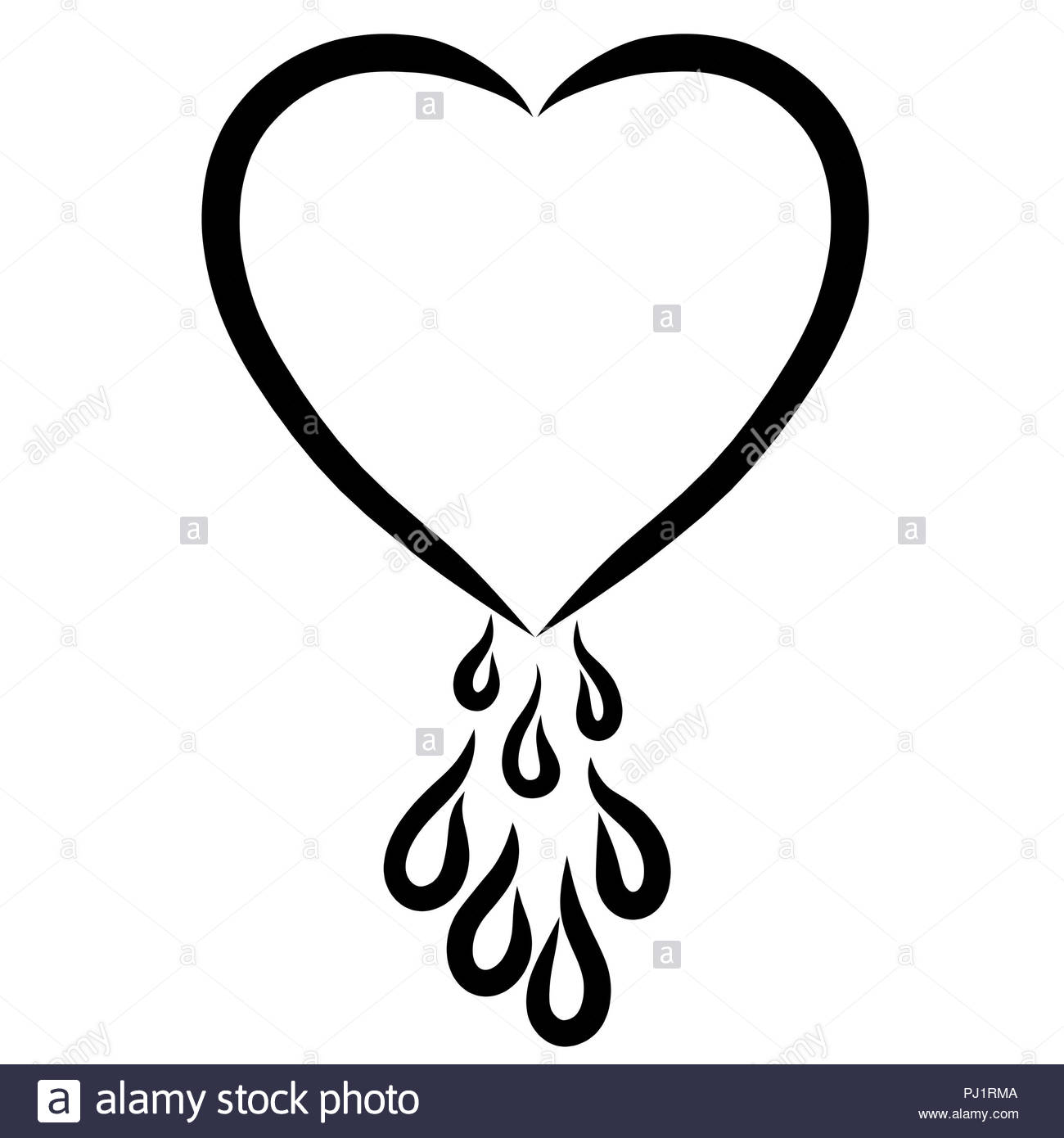 Heart With Drops Of Blood Or Tears Stock Photo 217628778 Alamy