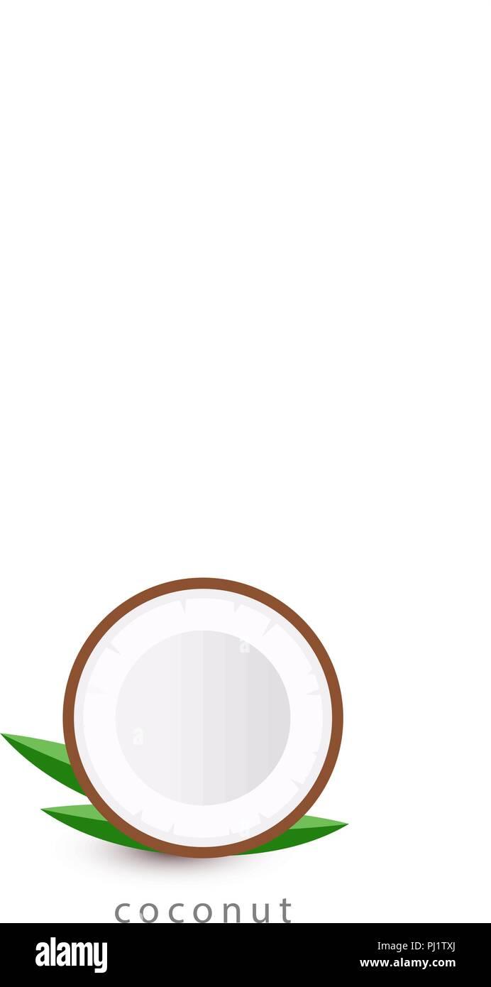 coconut simple icon vegan logo template minimalism style vector