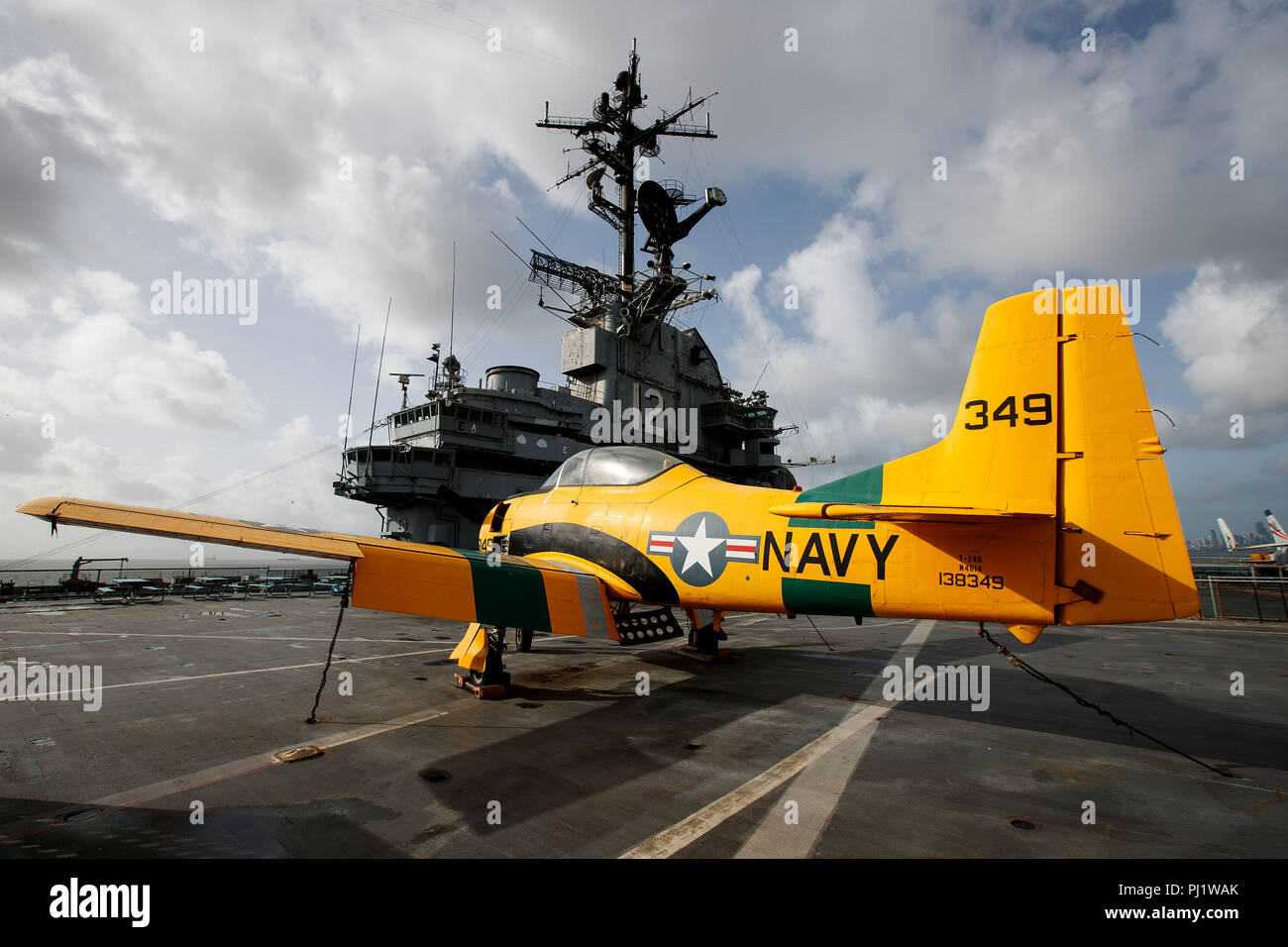 North American T-28 Trojan (138349) on the deck of the USS Hornet Museum, Alameda, California, United States of America - Stock Image