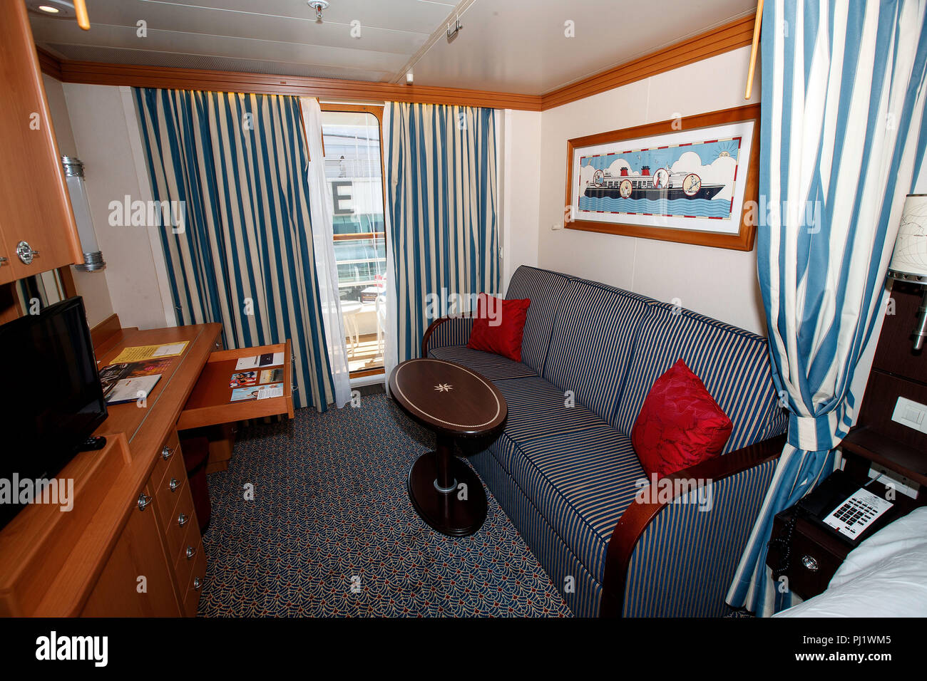 Deluxe Oceanview Stateroom with Verandah (05A), Disney Wonder Cruise Ship, Vancouver Harbor, Vancouver, British Columbia, Canada - Stock Image