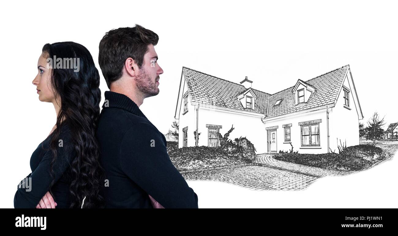 Couple unhappy in front of house drawing sketch - Stock Image