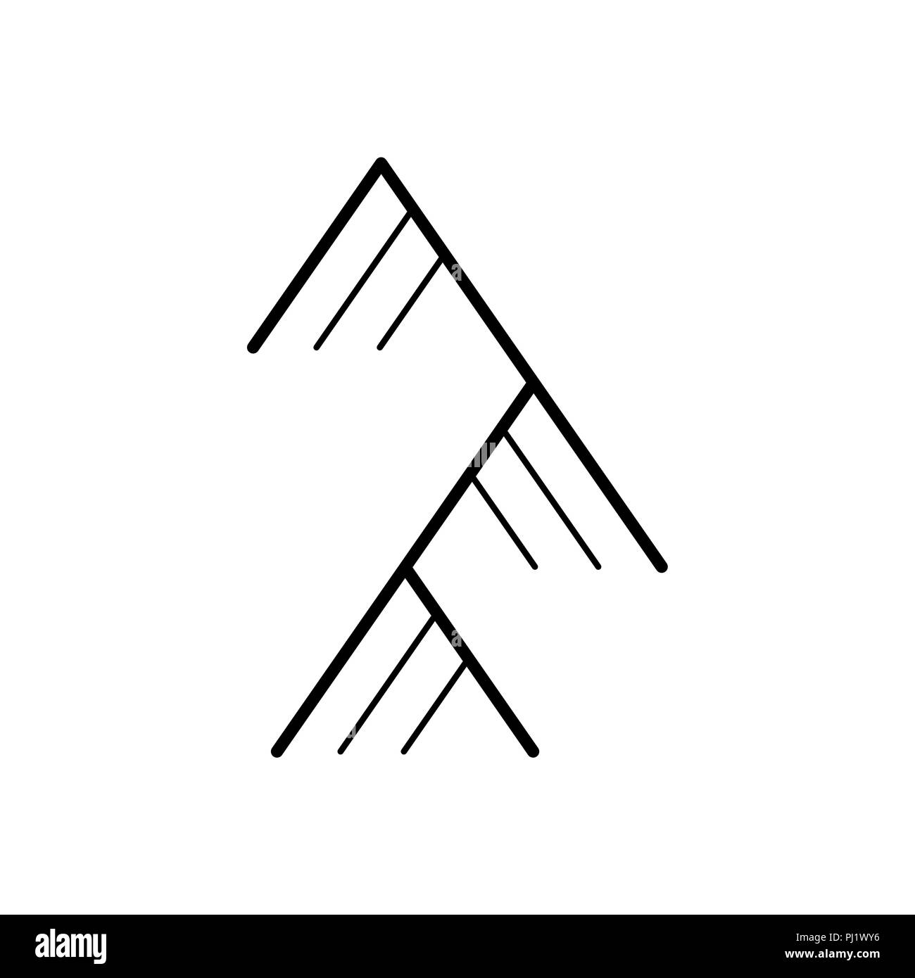 Mountain Linear Sign Rock Symbol Vector Illustration Stock Vector