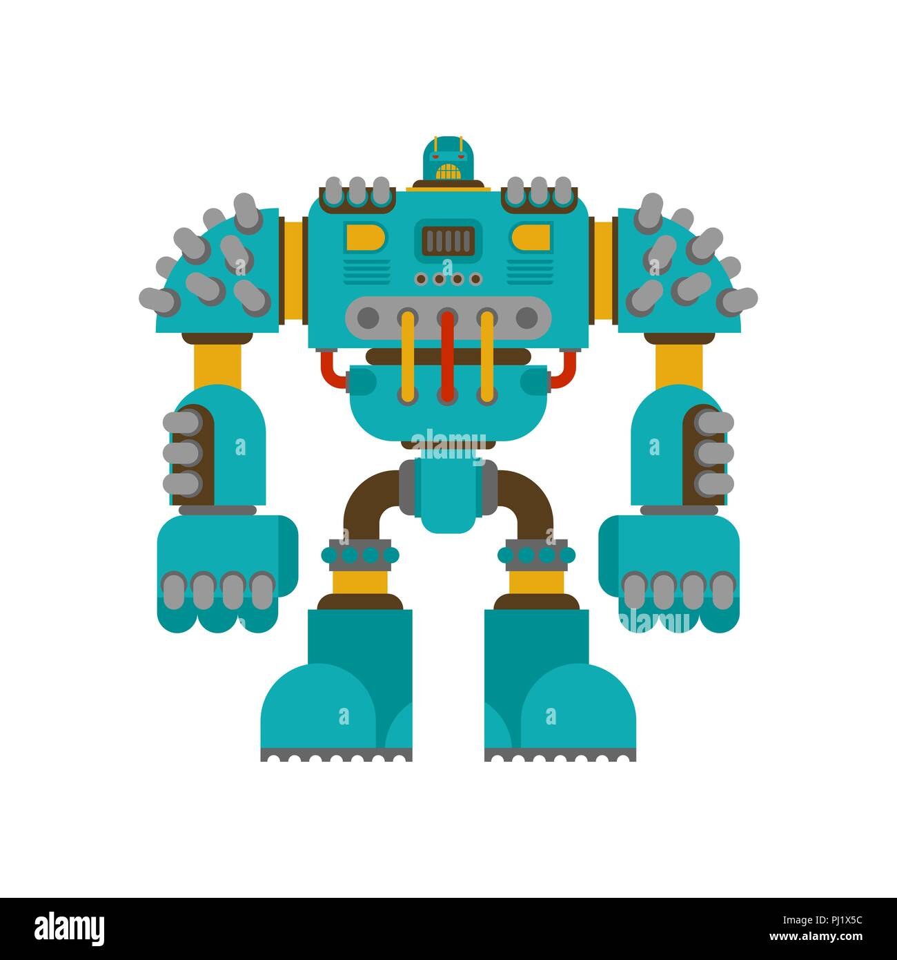 Robot Battle isolated. Cyborg warrior future. Vector illustration - Stock Vector