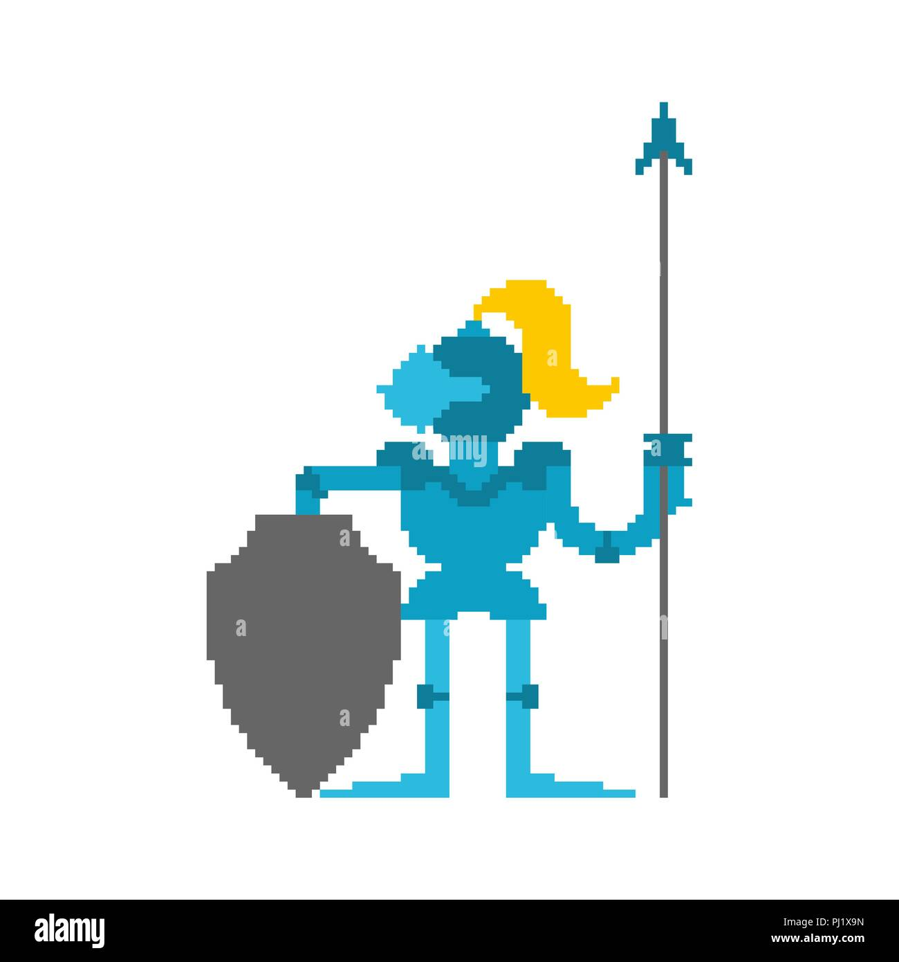 Knight Pixel Art Armor Warrior 8 Bit Vector Illustration