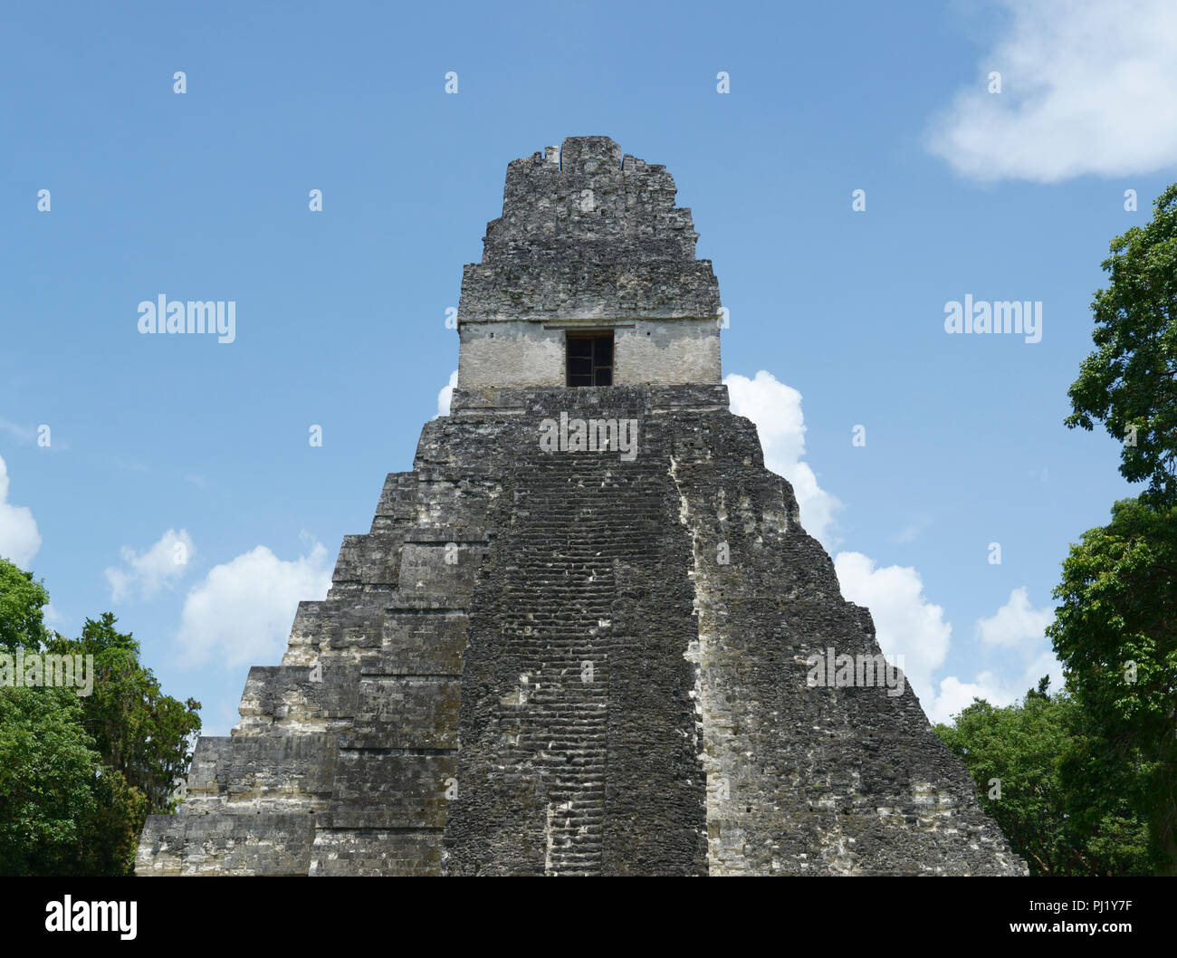 Tikal, Mayan ruins, Guatemala with Temple 1 - Stock Image