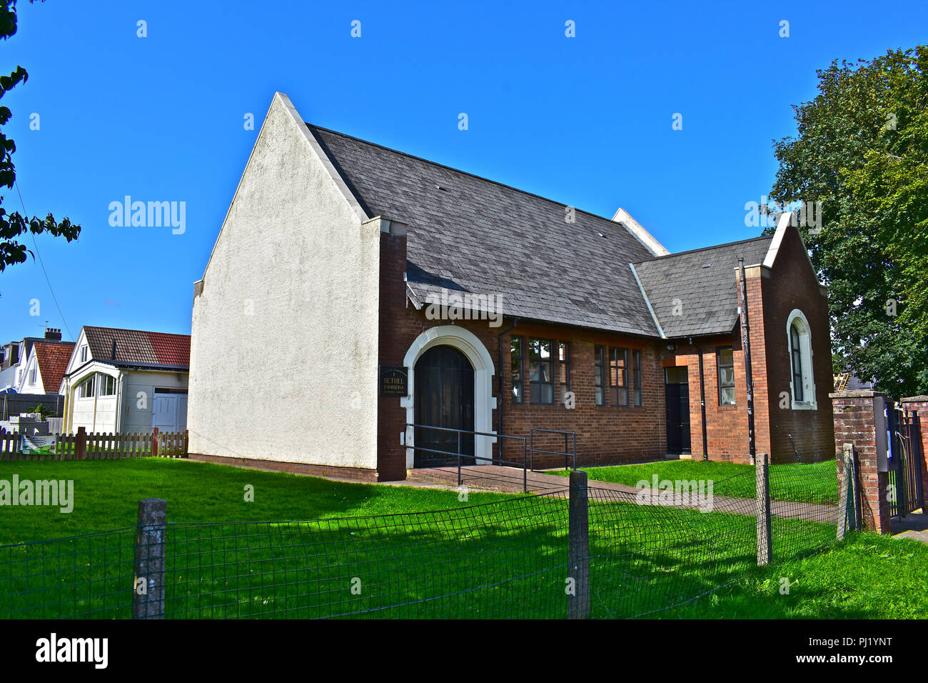 Bethel Baptist Church, Rhiwbina, Cardiff, S.Wales. The simple building is in a quiet residential suburb and also houses a popular playgroup. - Stock Image