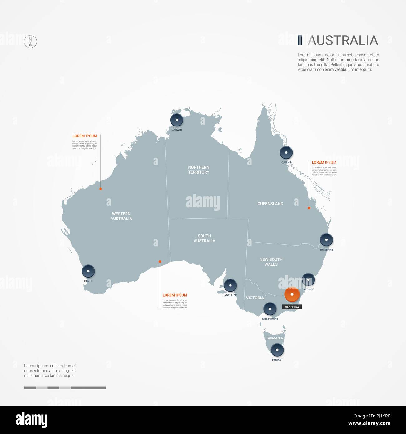 Australia Map Main Cities.Australia Map With Borders Cities Capital Canberra And