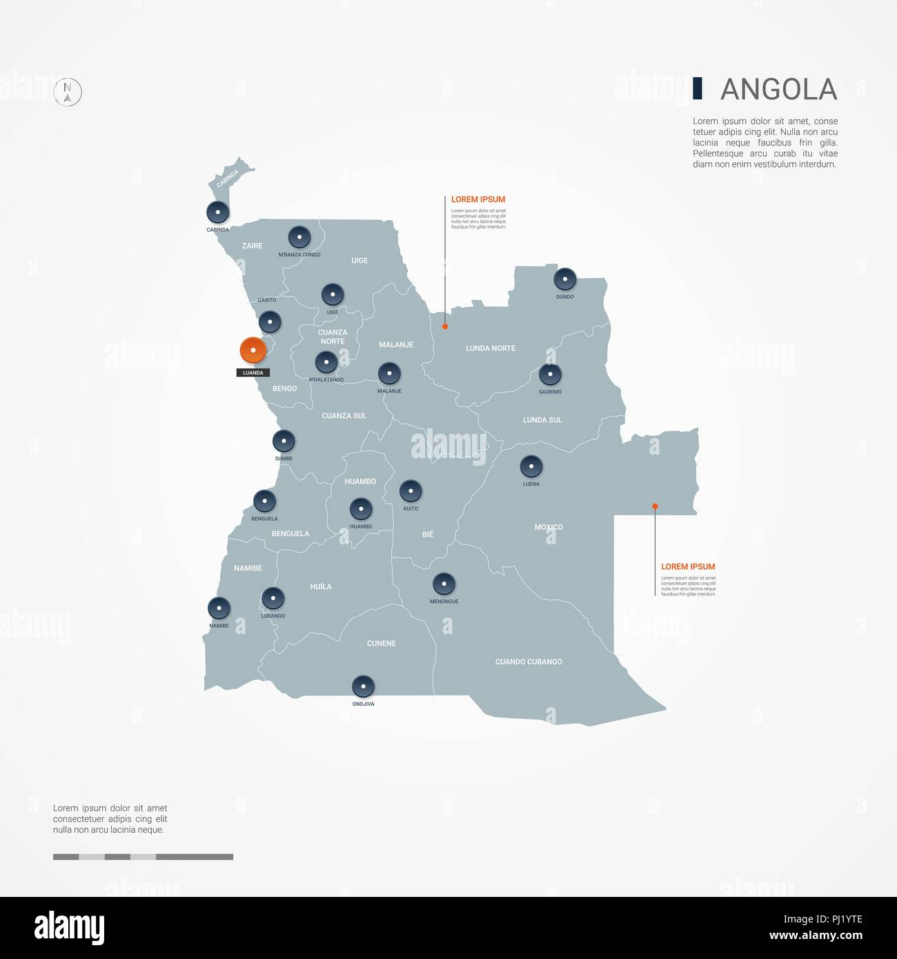 Angola with borders, cities, capital Luanda and administrative divisions. Infographic vector map. Editable layers clearly labeled. - Stock Vector