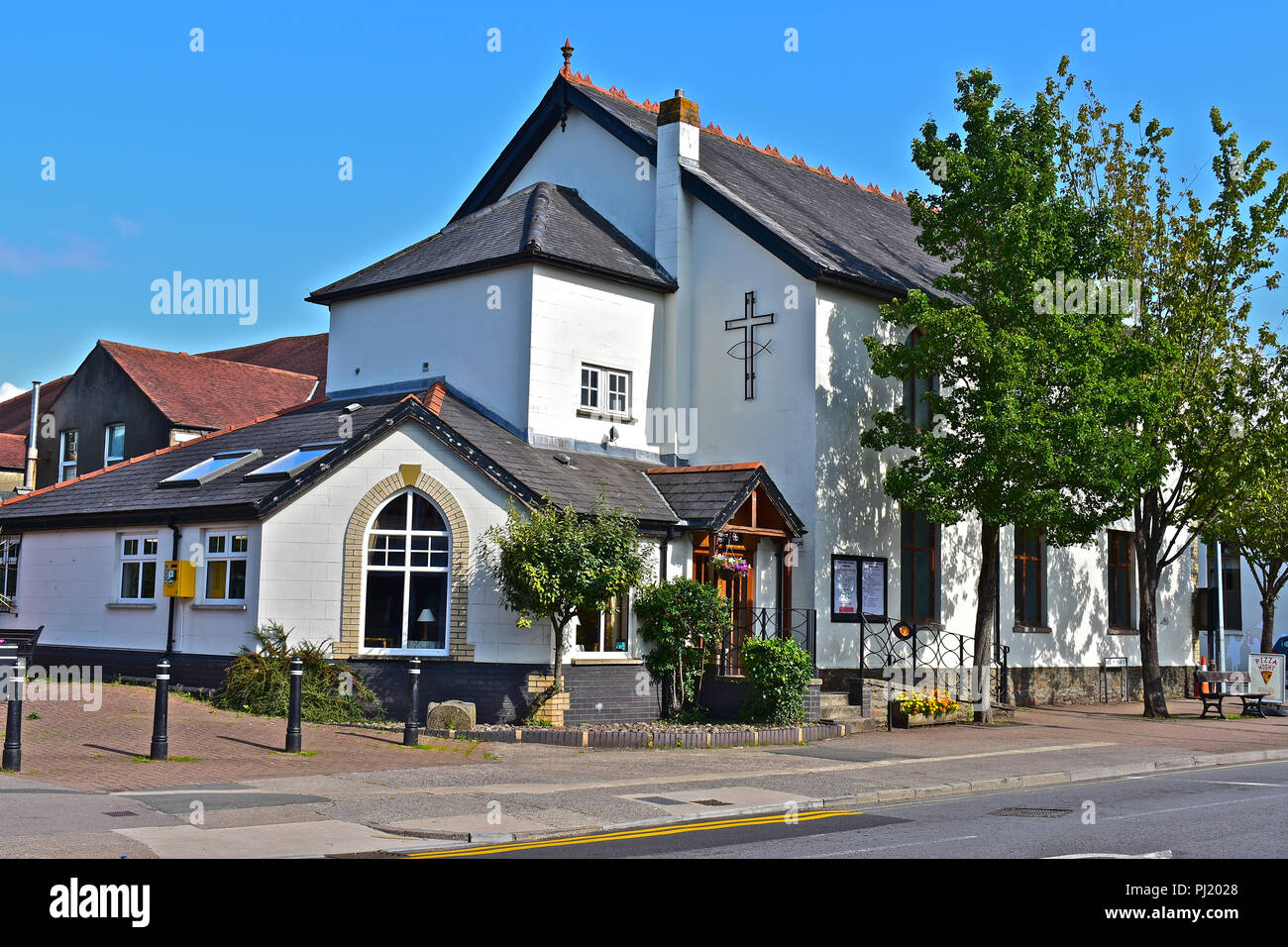 This image is of the rear of Beulah URC Rhiwbina showing the extension which houses a popular coffee lounge. Cardiff, S.Wales - Stock Image