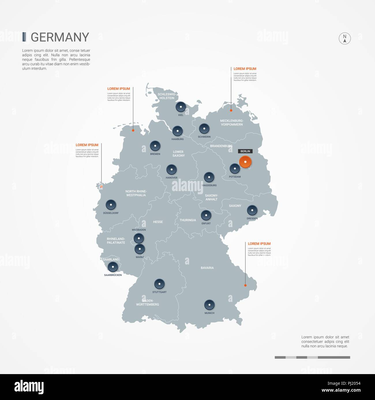 Germany map with borders, cities, capital and administrative ...