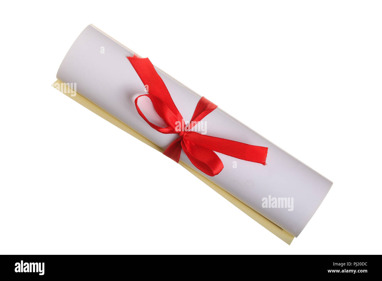 Diploma with red ribbon isolated on white background. Top view. Flat lay. - Stock Image