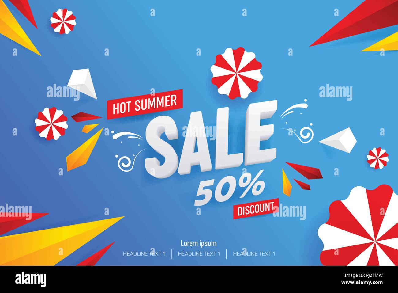 Abstract Hot Summer Sale 50% Discount Vector Background Illustration - Stock Vector