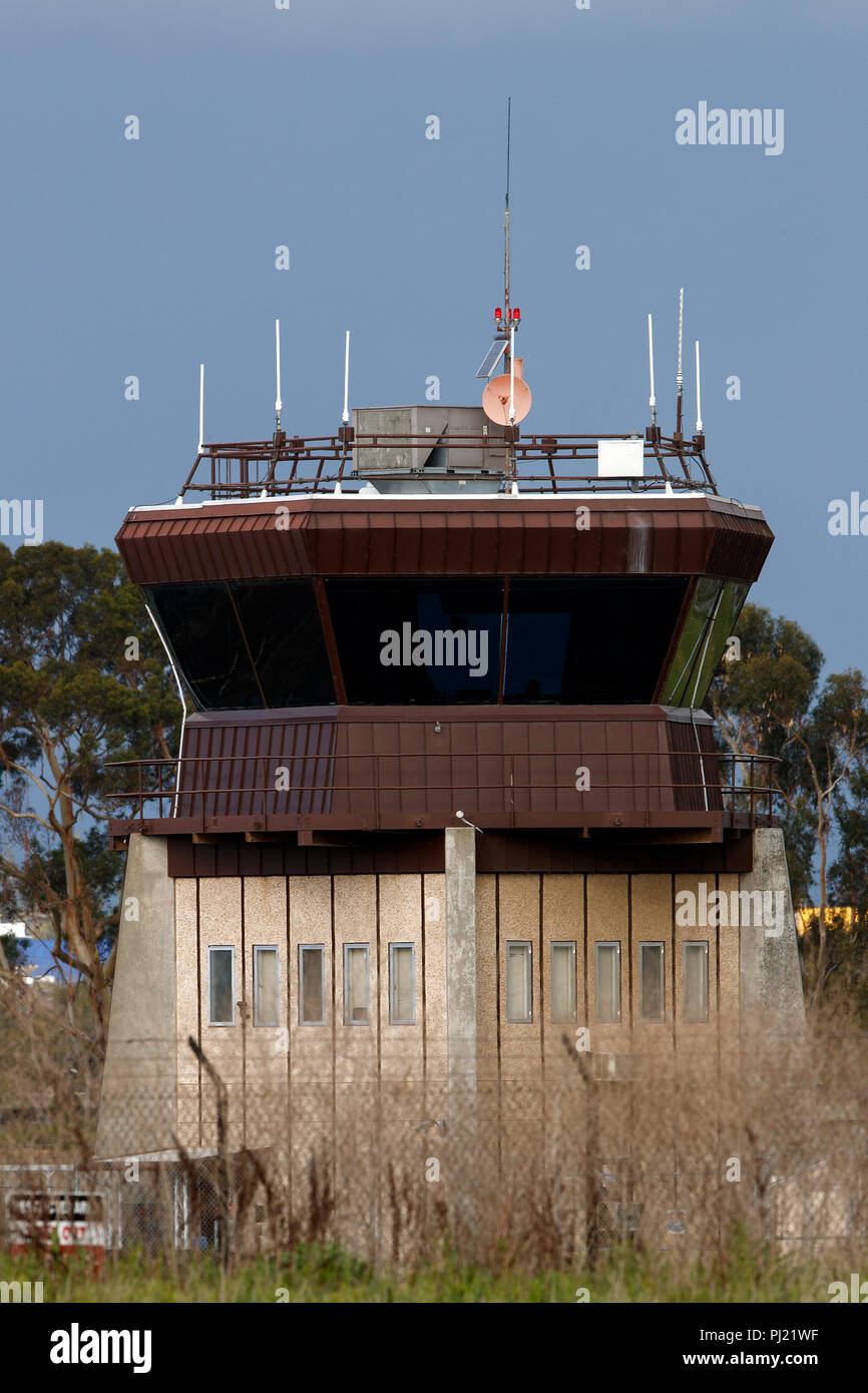 FAA control tower, Palo Alto Airport (KPAO), Palo Alto, California, United States of America - Stock Image