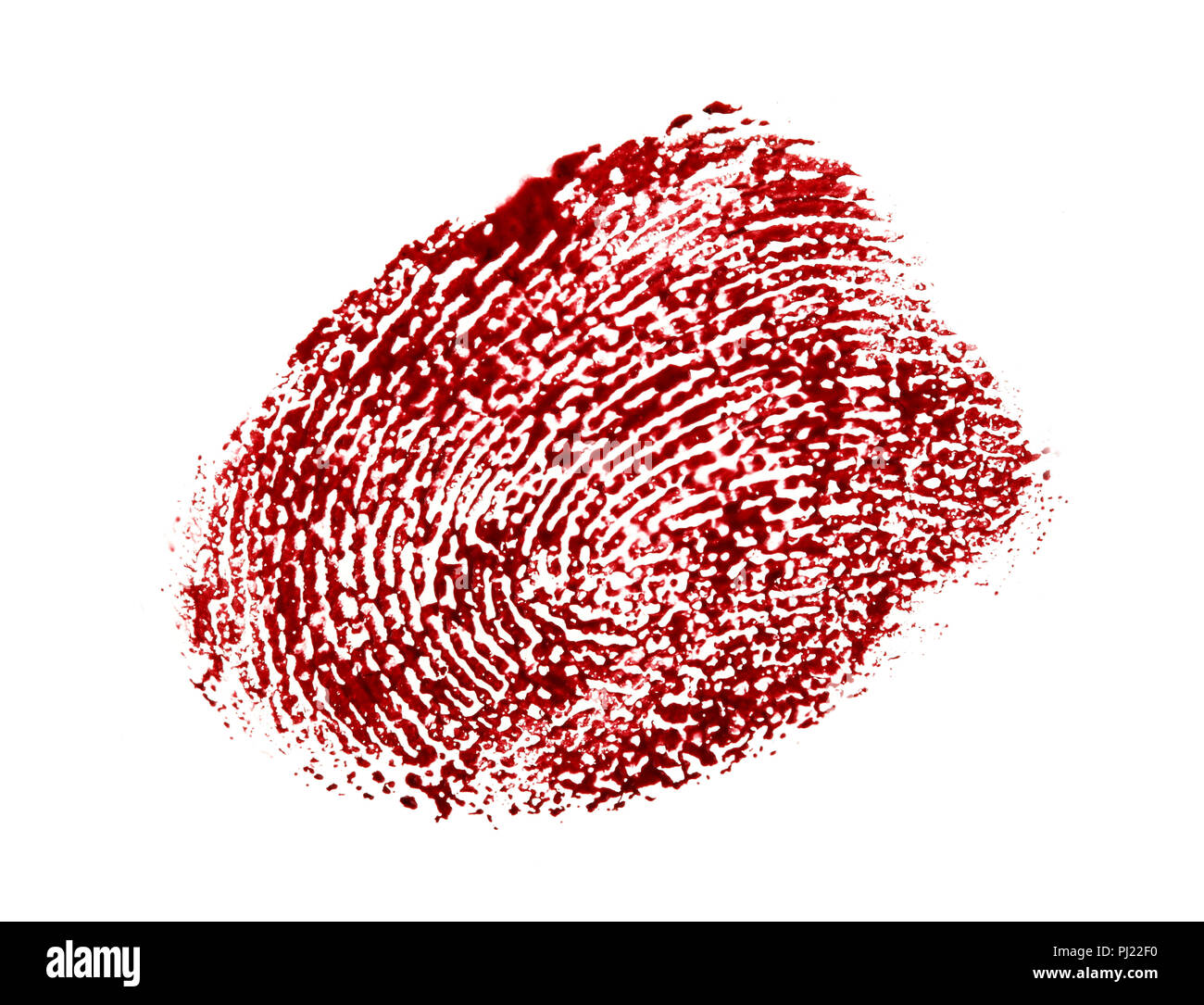 Bloody fingerprint isolated on a white background. - Stock Image