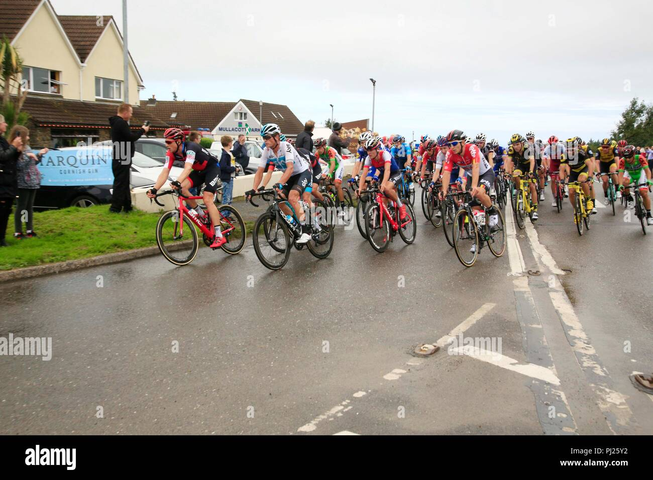 Mullacott, UK. 3rd September, 2018. Tour of Britain cycle race, North Devon Stage, UK Credit: Natasha Quarmby/Alamy Live News - Stock Image