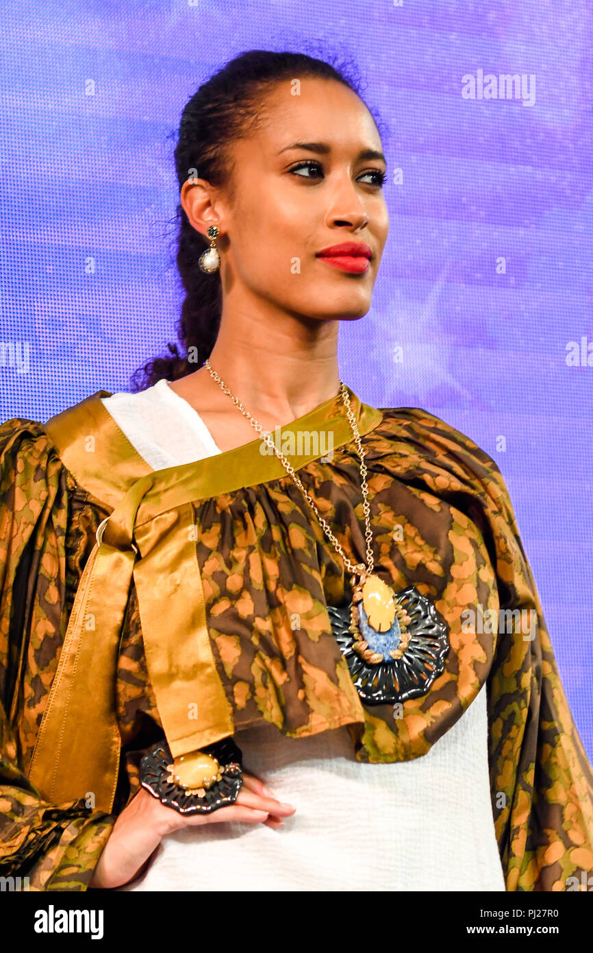 London, UK. 3nd September, 2018. Model wearing Jewellery form stalls of the exhibitors showcases is latest brands and designers at the International Jewellery London 2018, Olympia London, UK. Credit: Picture Capital/Alamy Live News Stock Photo