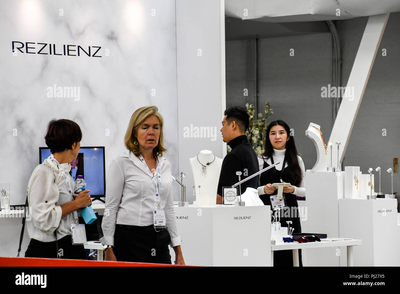 London, UK. 3rd September, 2018. Hundreds of stalls and many come from China exhibition with a SS18 Trends Catwalk at International Jewellery London 2018 Credit: Picture Capital/Alamy Live News Stock Photo