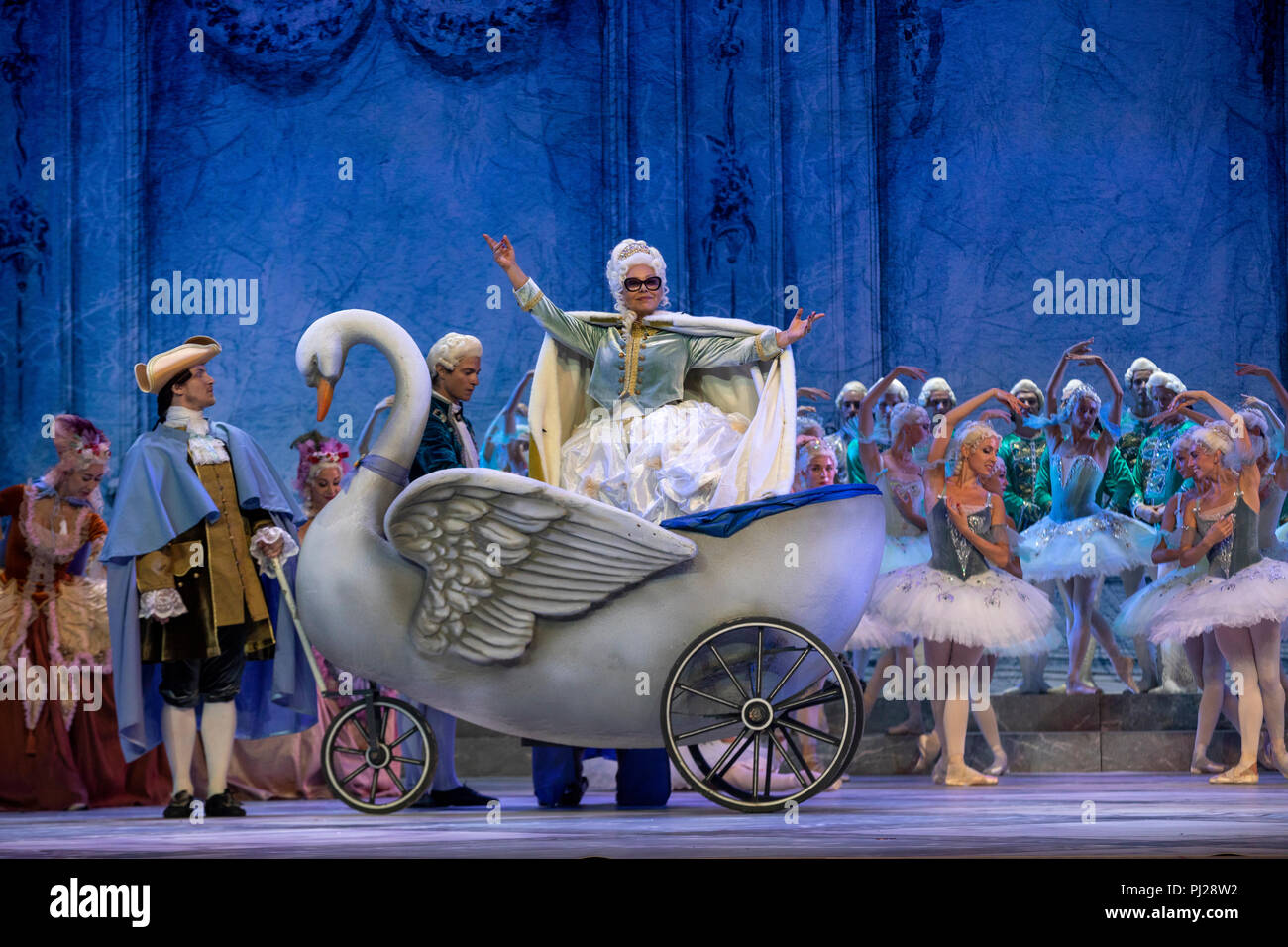 Moscow, Russia. 3rd September 2018 Italian actress Ornella Muti as Empress Anna of Russia, performs in a scene from the Crystal Palace international opera-ballet production based on music by American-Maltese composer Alexey Shor and staged at the State Kremlin Palace in Moscow Credit: Nikolay Vinokurov/Alamy Live News Stock Photo