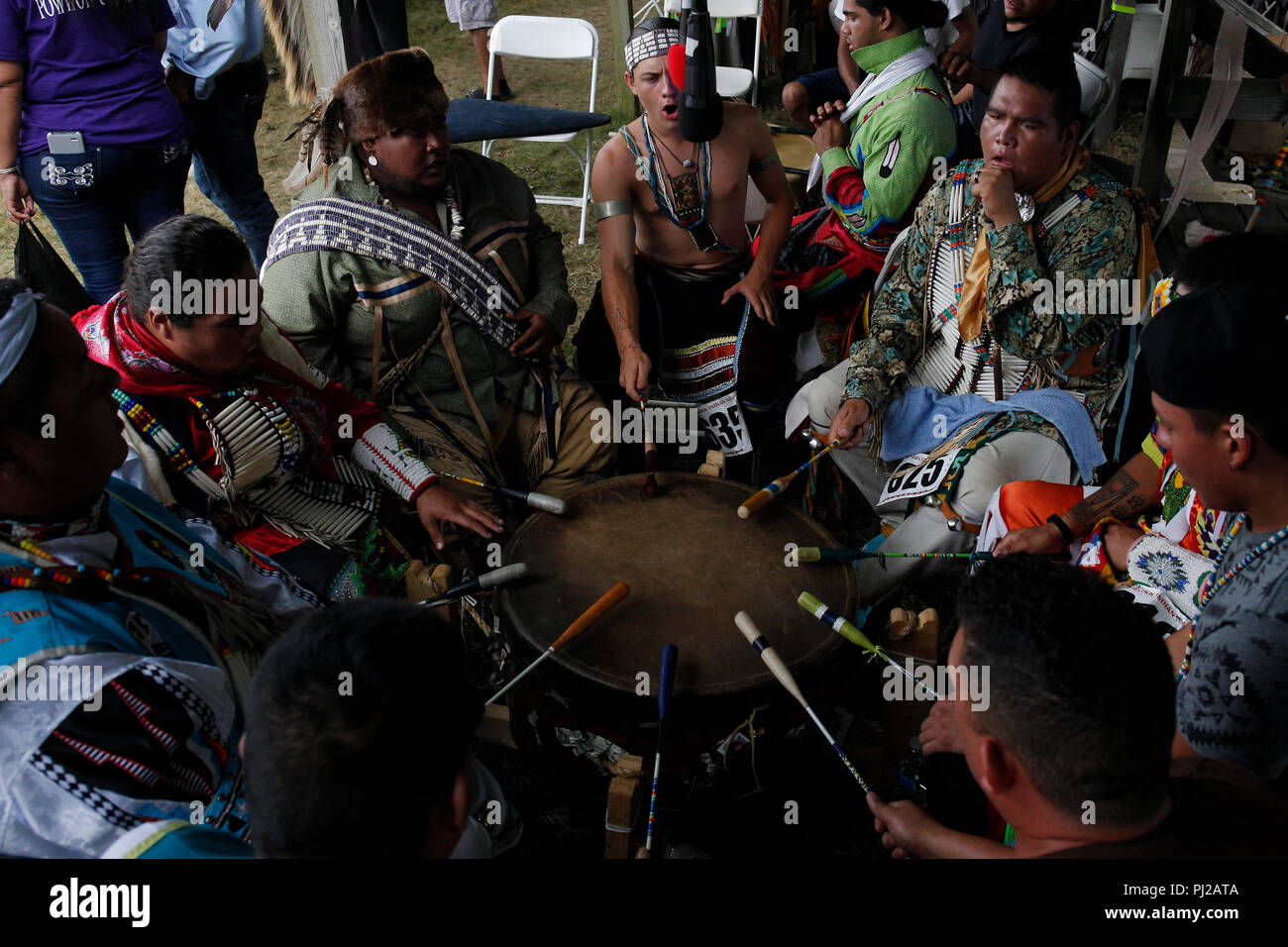 Southhampton, United States of America. 03rd Sep 2018. Group of Native American prepares to dance during the celebration of the 72nd annual Shinnecock Indian Powwow over the Labour Day weekend in Southampton Long Island New York in Southhampton, United States of America, 03 September 2018. (PHOTO) Alejandro Sala/Alamy News Stock Photo