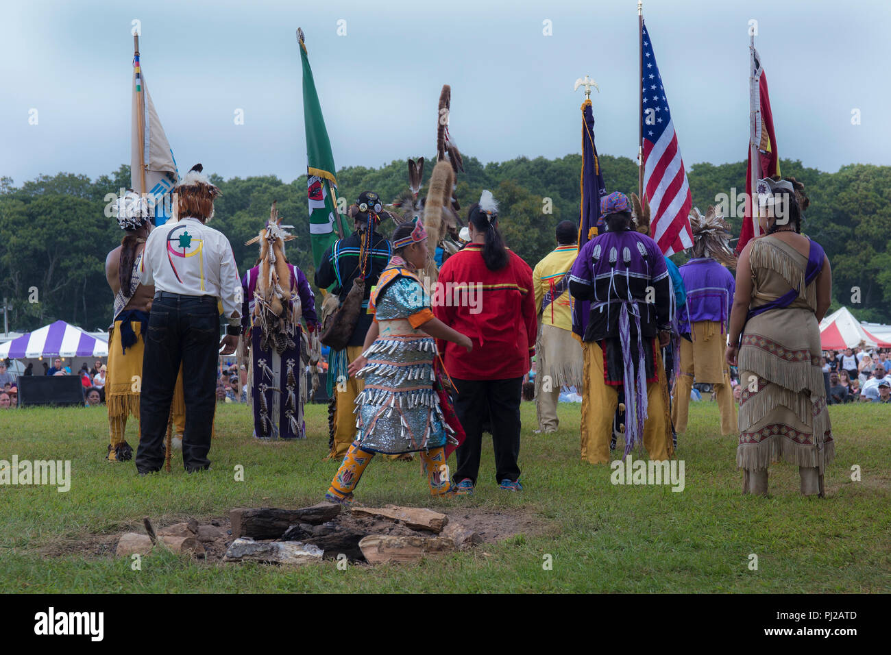 Southhampton, United States of America. 03rd, Sep 2018. Native American start the celebration of the 72nd annual Shinnecock Indian Powwow over the Labour Day weekend in Southampton Long Island New York, in Southhampton, United States of America, 03 September 2018. (PHOTO) Alejandro Sala/Alamy News Stock Photo