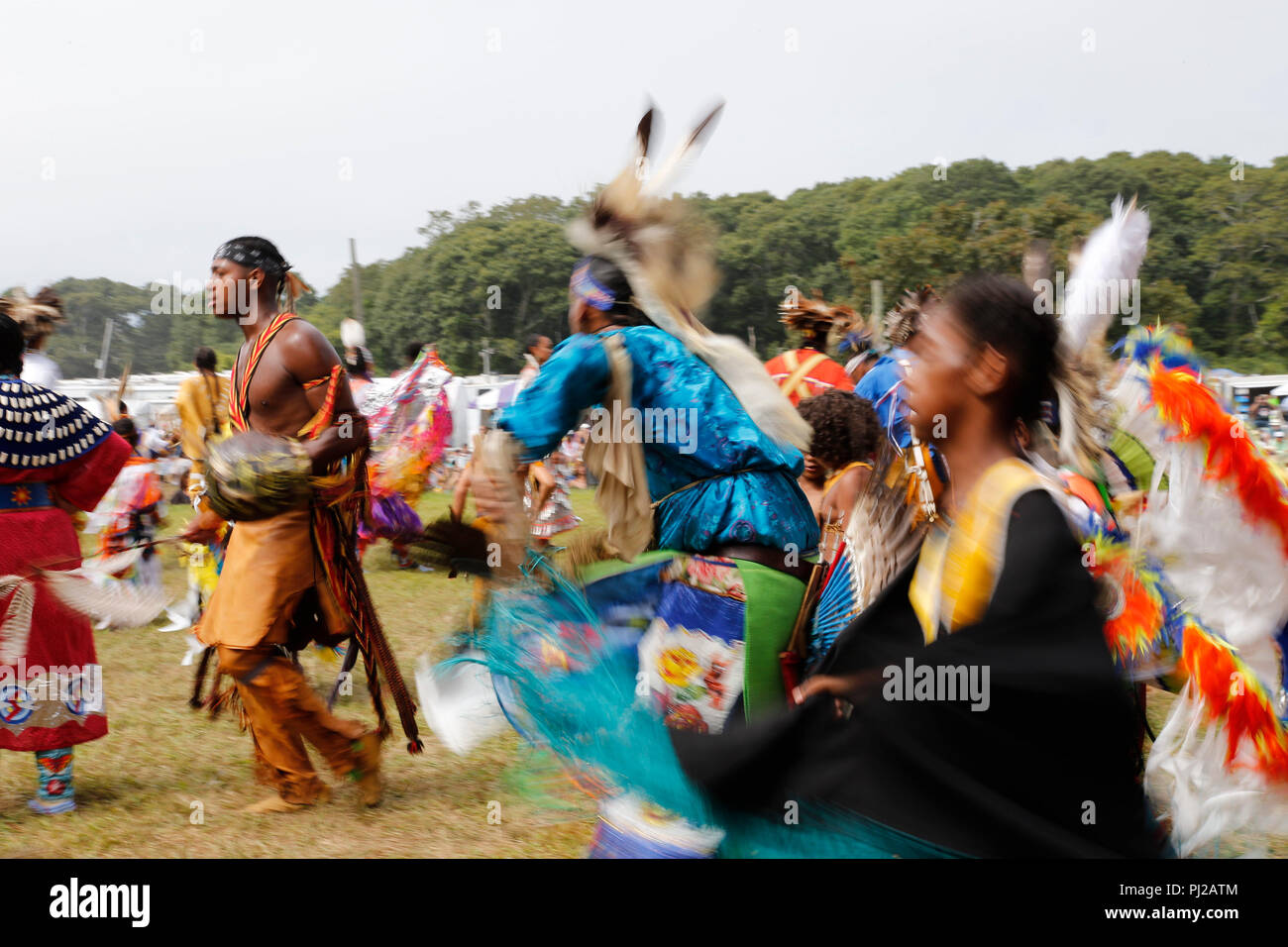 Southhampton, United States of America. 03rd, Sep 2018. Traditional dance during the celebration of the 72nd annual Shinnecock Indian Powwow over the Labour Day weekend in Southampton Long Island New York in Southhampton, United States of America, 03 September 2018. (PHOTO) Alejandro Sala/Alamy News Stock Photo