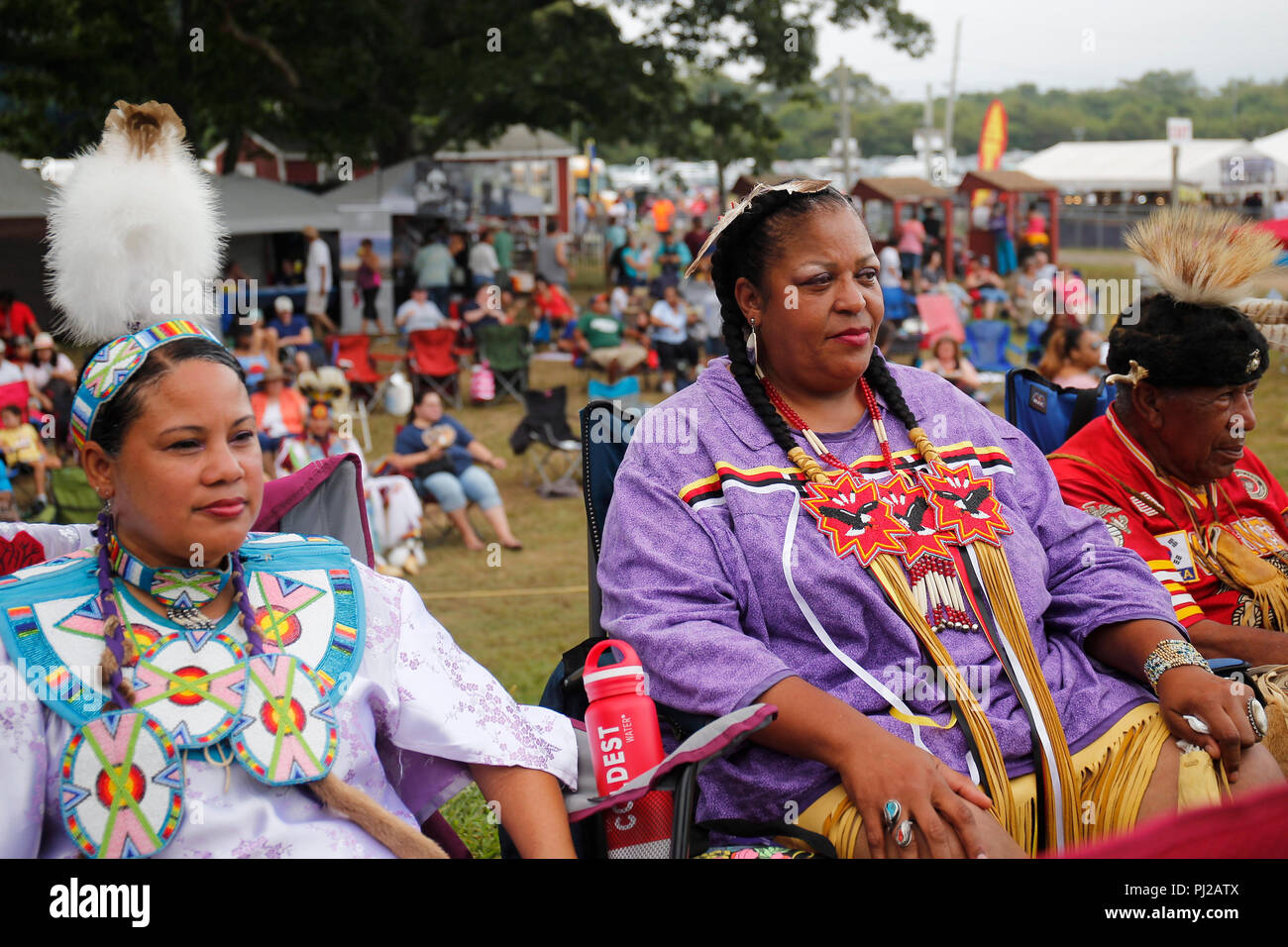 Southhampton, United States of America. 03rd, Sep 2018. A Native American prepares to dance during the celebration of the 72nd annual Shinnecock Indian Powwow over the Labour Day weekend in Southampton Long Island New York in Southhampton, United States of America, 03 September 2018. (PHOTO) Alejandro Sala/Alamy News Stock Photo