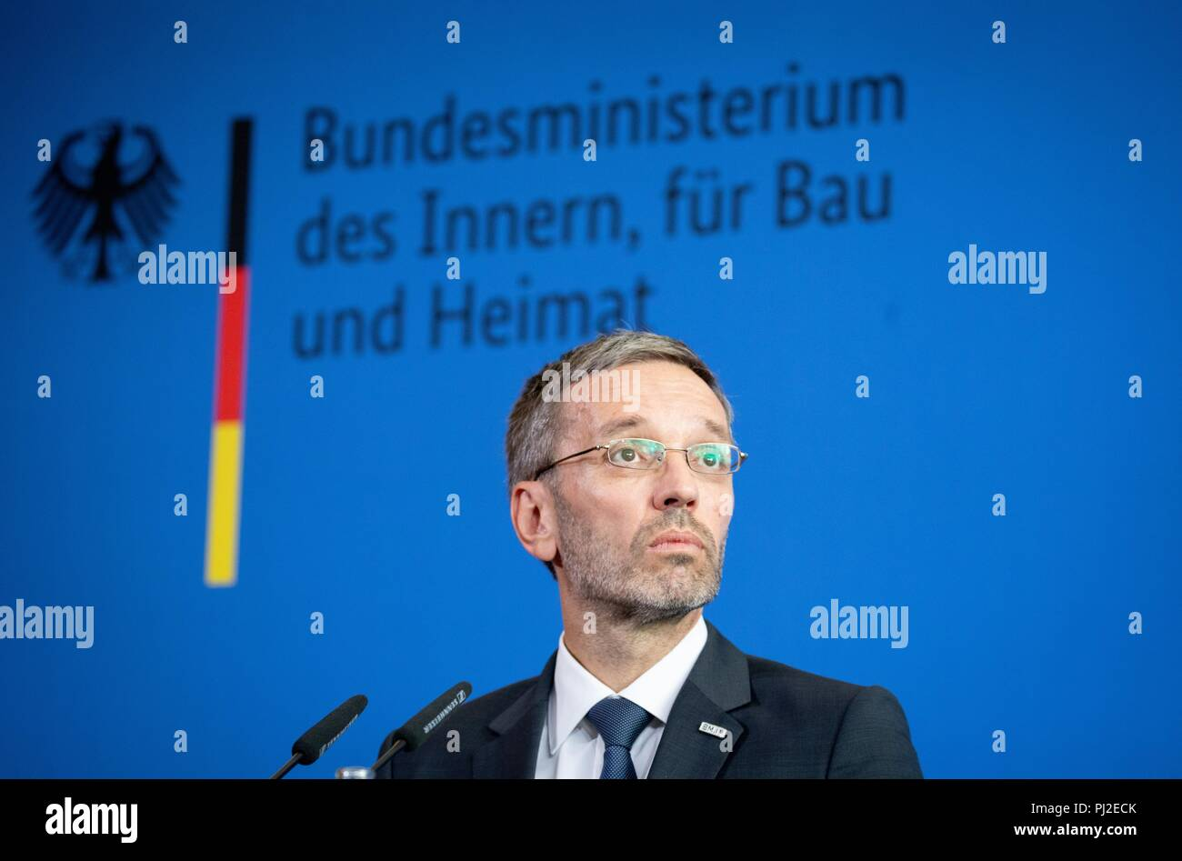 Berlin, Germany. 04th Sep, 2018. 04.09.2018, Berlin: Herbert Kickl (FPÖ), Minister of the Interior of Austria, gives a press conference after a meeting with Minister of the Interior Seehofer (CSU). Credit: Kay Nietfeld/dpa/Alamy Live News - Stock Image