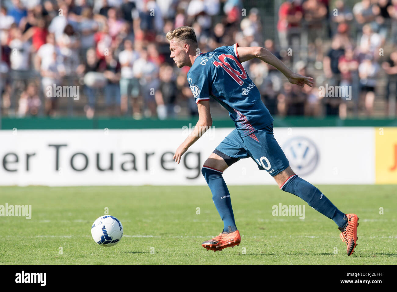 Marvin DUCKSCH (D) in action with ball, in profile, landscape; Soccer DFB Pokal, 1st Round, TuS RW Koblenz (KO) - Fortuna Dusseldorf 0: 5, on 19/08/2018 in Koblenz/Germany. DFL regulationos prohibit any use of images as image sequences and/or quasi-video | usage worldwide - Stock Image