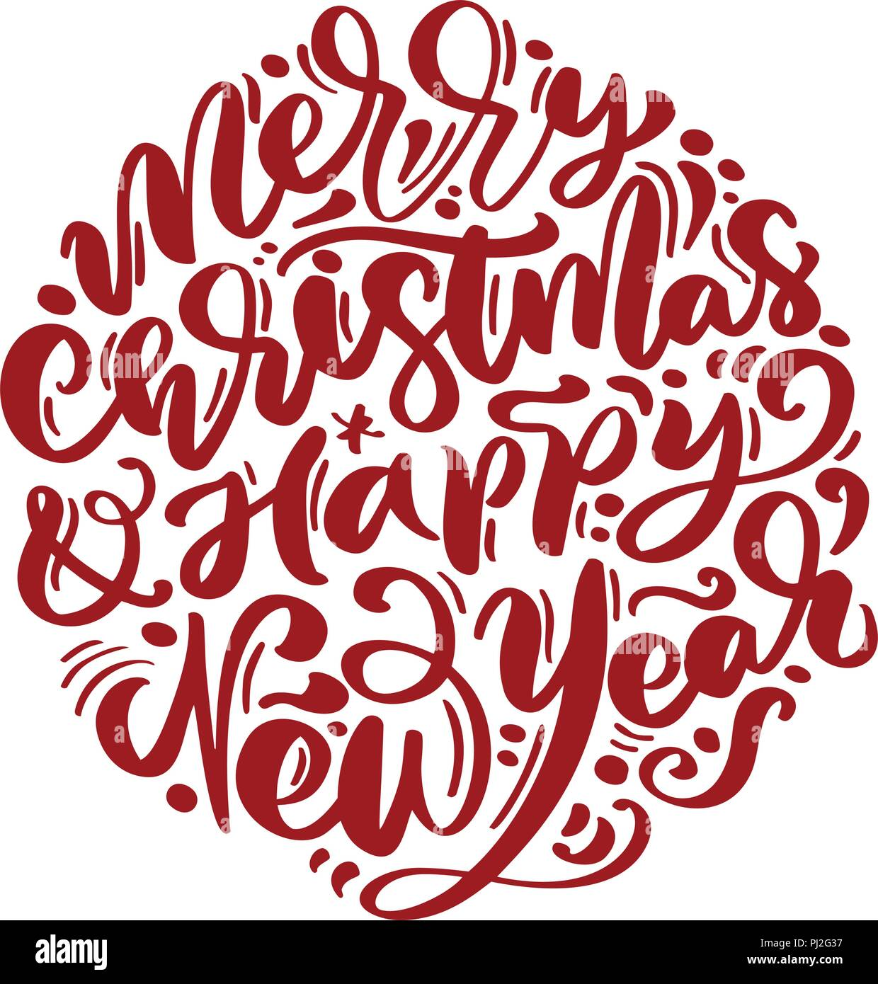 merry christmas and happy new year vector text calligraphic lettering design card template creative typography for holiday greeting gift poster