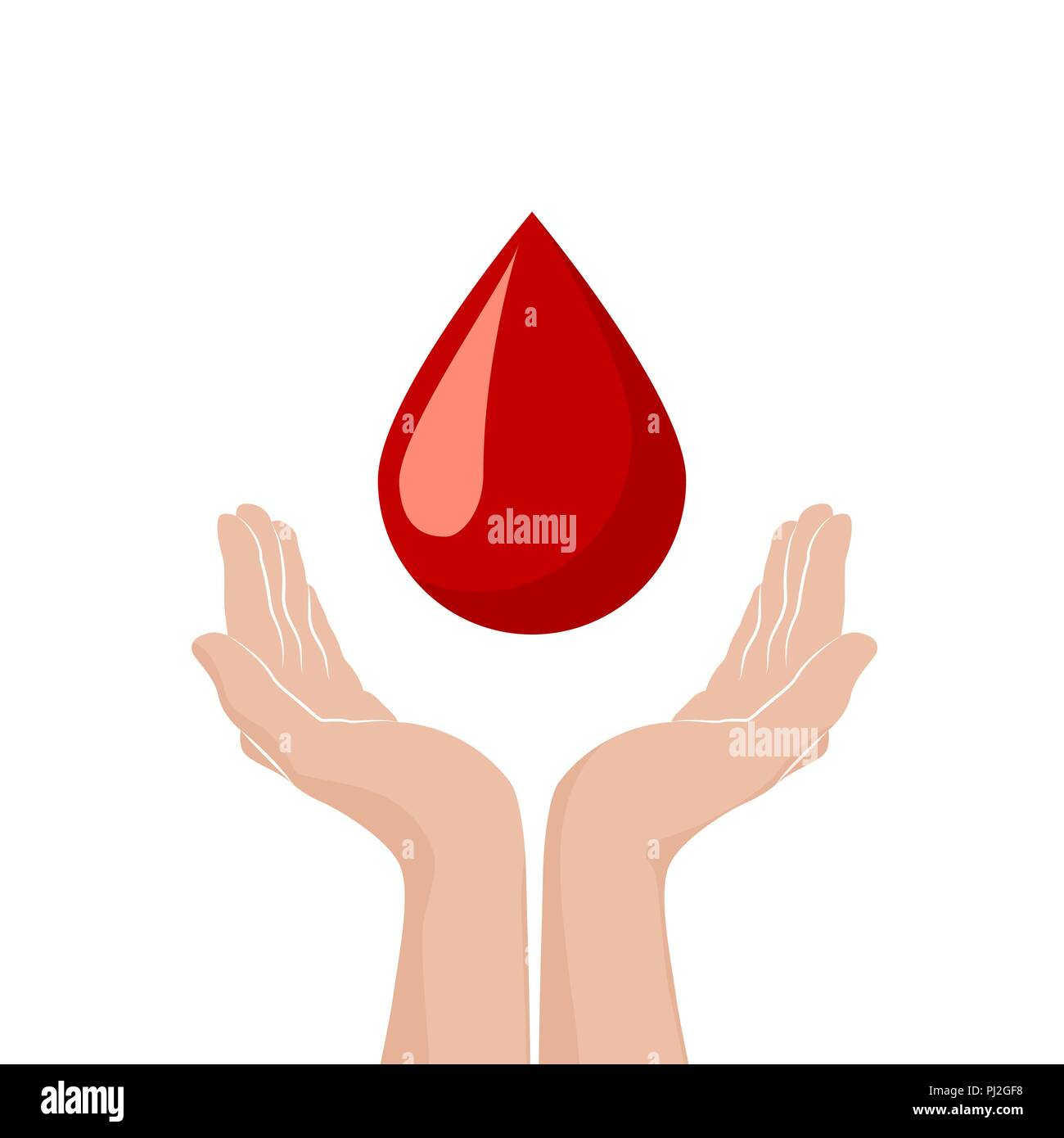 World Blood Donor Day Background: Two Hands Donate Blood . World Blood Donor Day Concept. Red