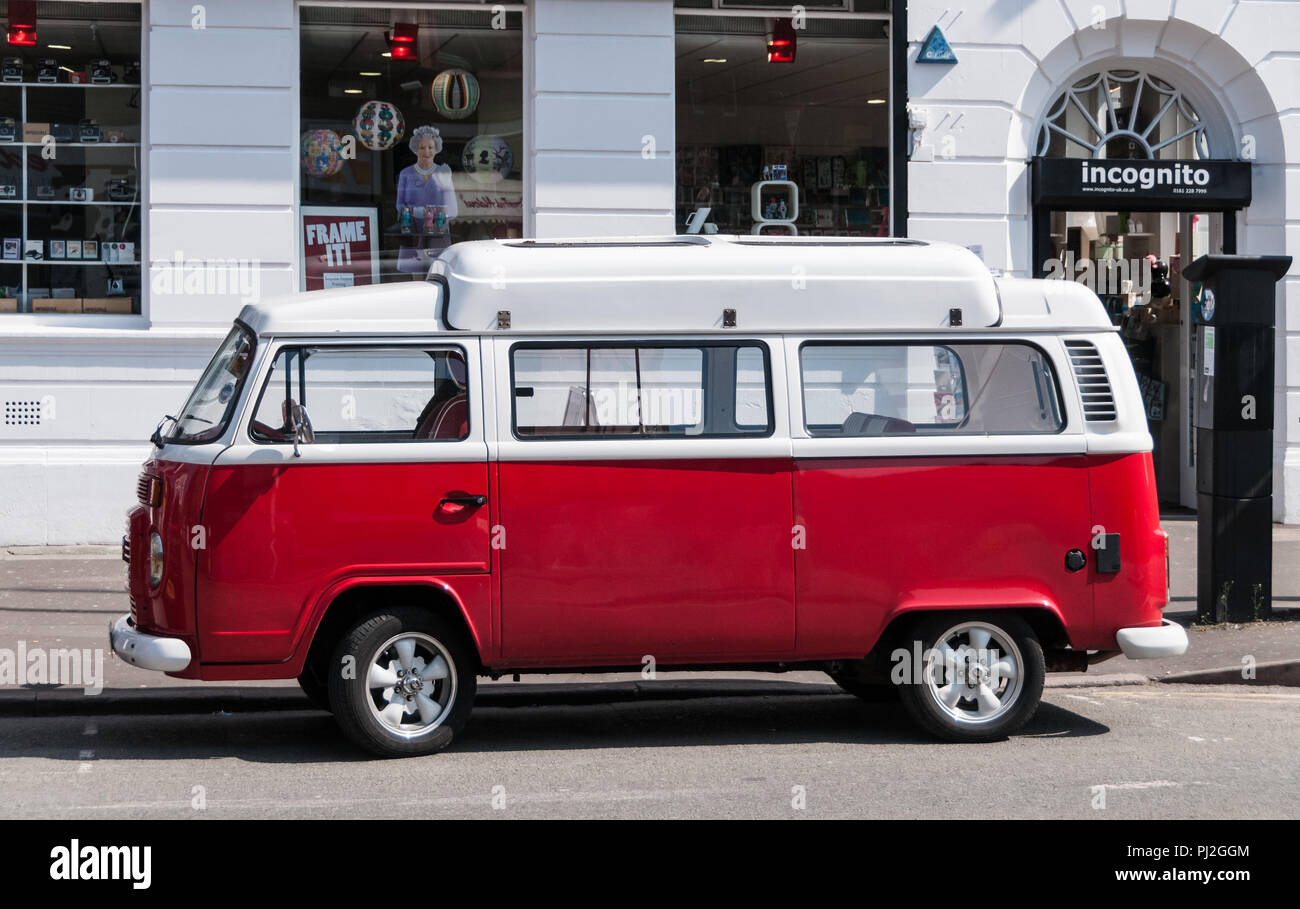 Red And White Van High Resolution Stock