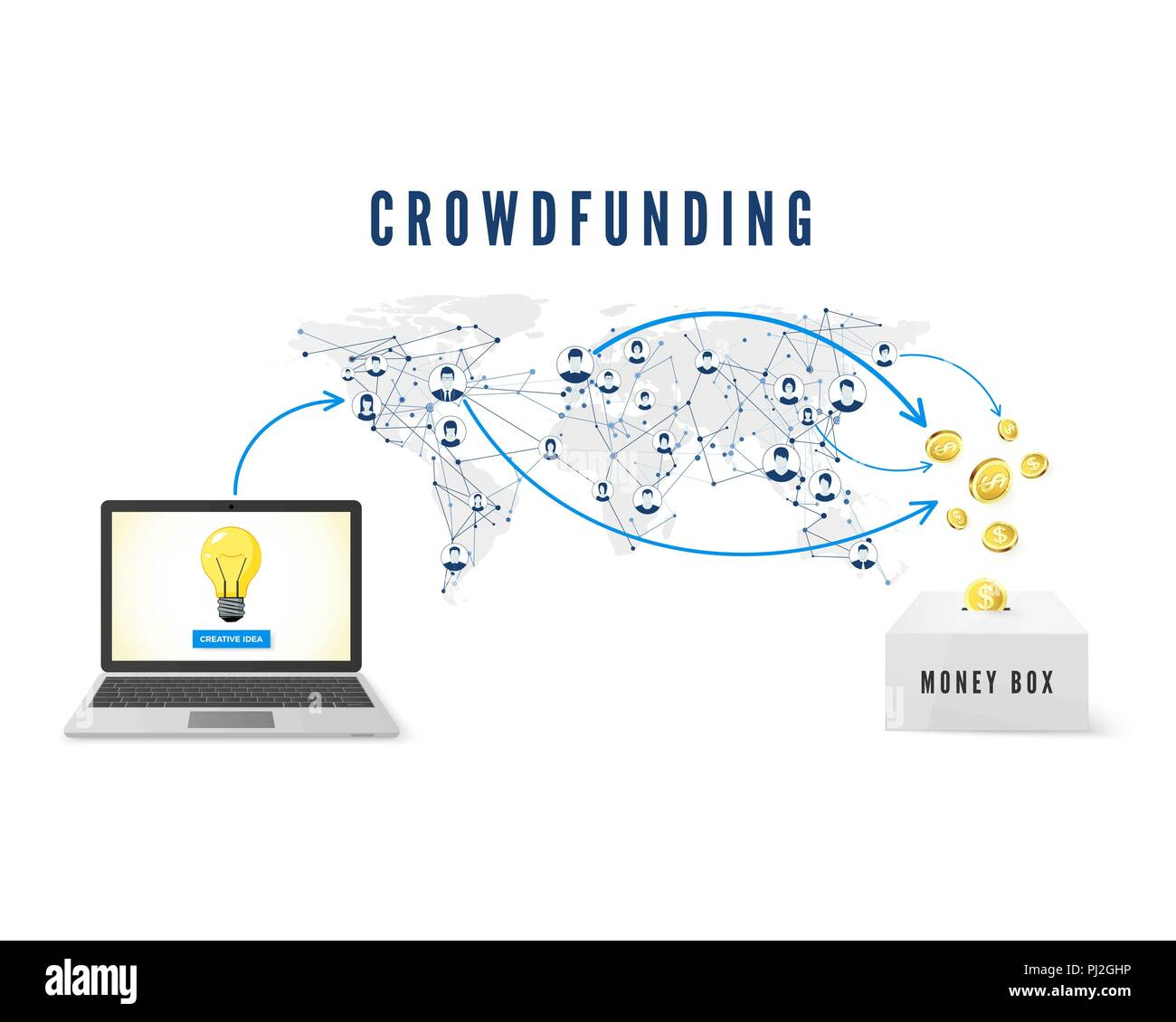 Crowdfunding concept. Start up idea launch. People from global network donating money for Business Idea and help develop project. vector illustration - Stock Image