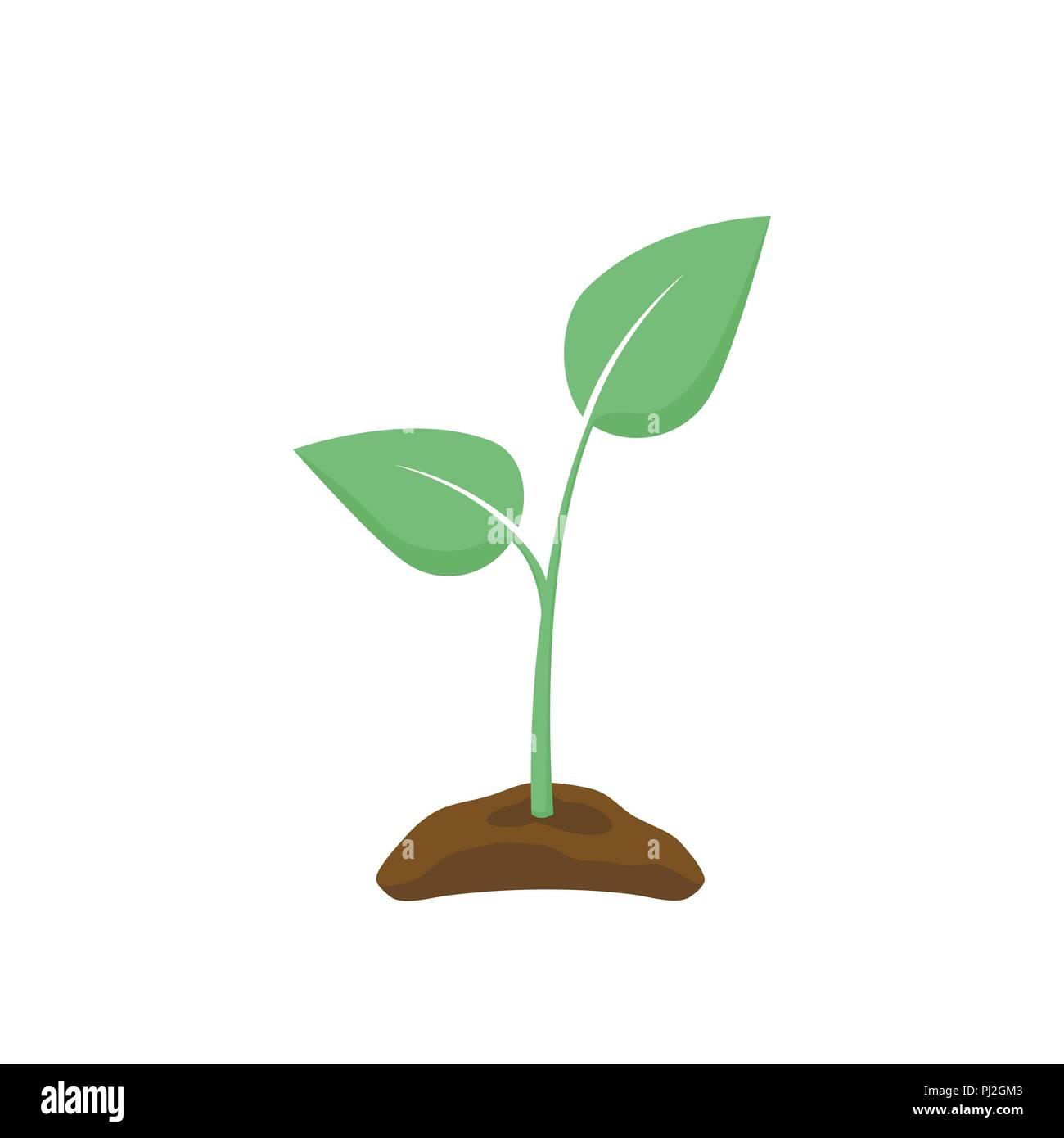 Green Seedling silhouette. Plant nurturing. Vector illustration - Stock Vector