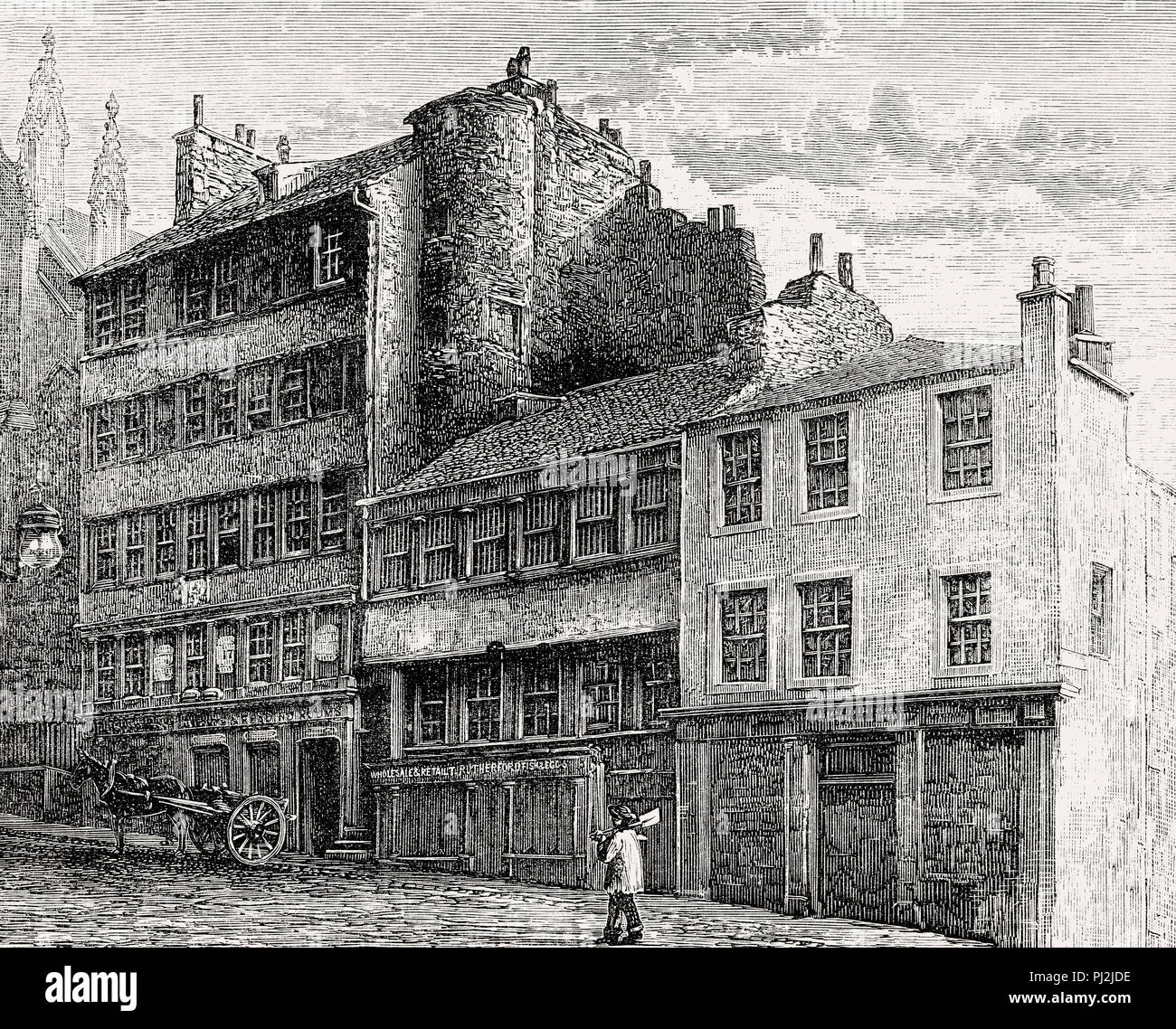 The Excise Office at the Netherbow Port, Edinburgh, Scotland, 19th century Stock Photo