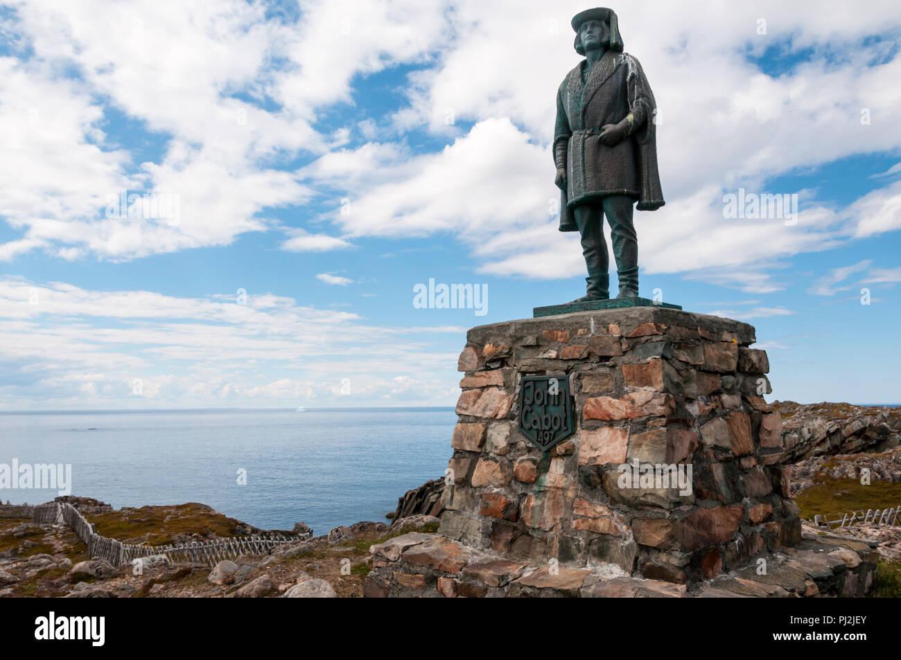 Statue of John Cabot at Cape Bonavista, Newfoundland. - Stock Image