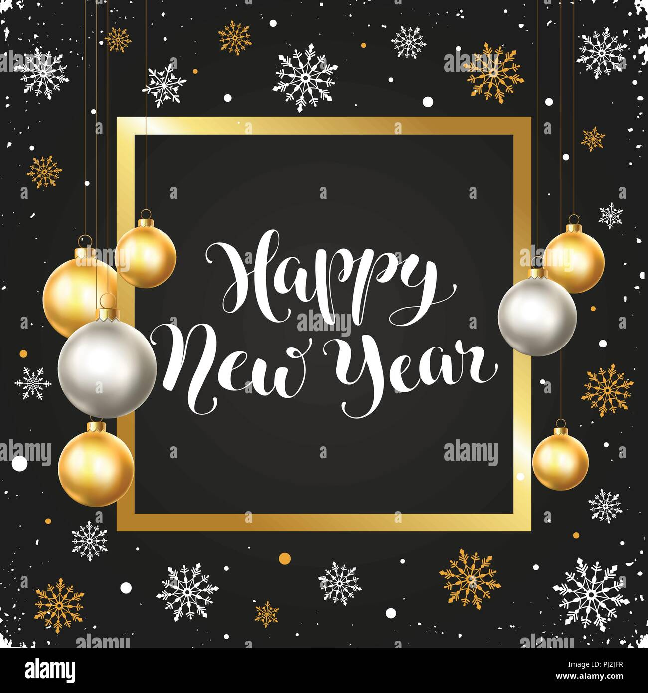 happy new year greeting card template in golden and silver colors modern winter lettering with christmas balls in square frame on chalkboard merry c