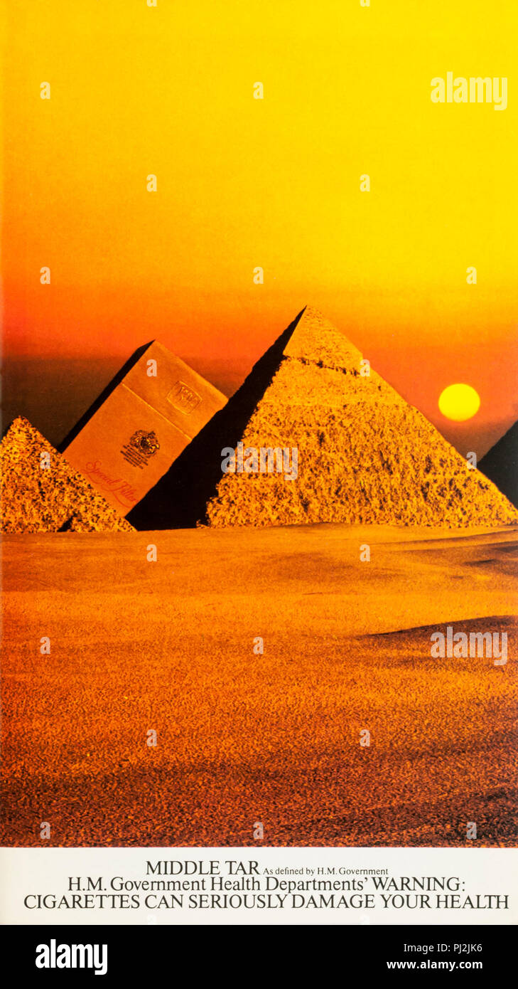 1970s advertisement advertising Benson and Hedges Special Filter cigarettes - pyramids.  With government health warning. - Stock Image