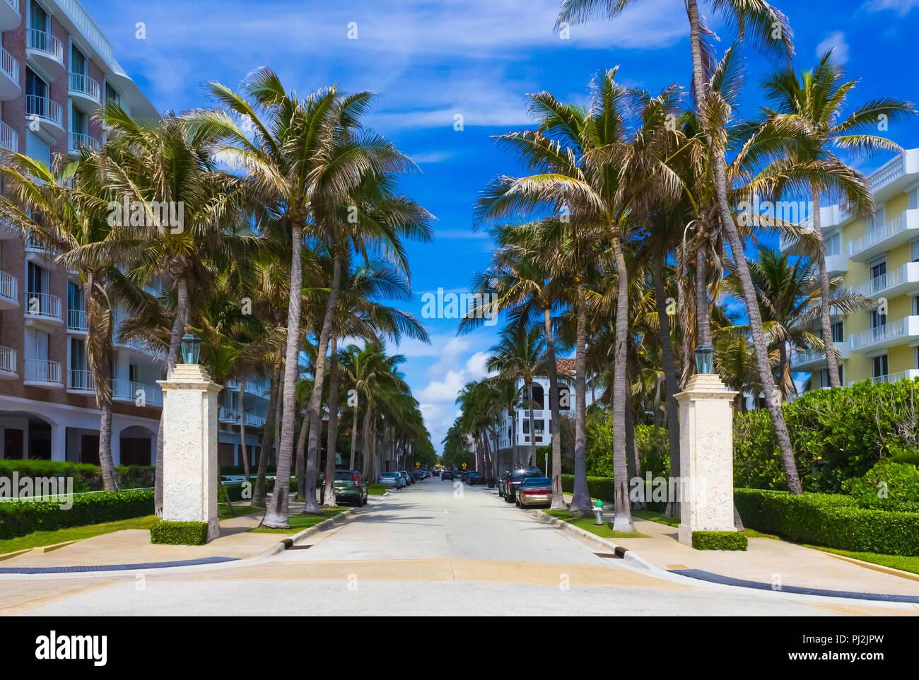 Worth Avenue, Palm Beach, Florida, United States Stock Photo