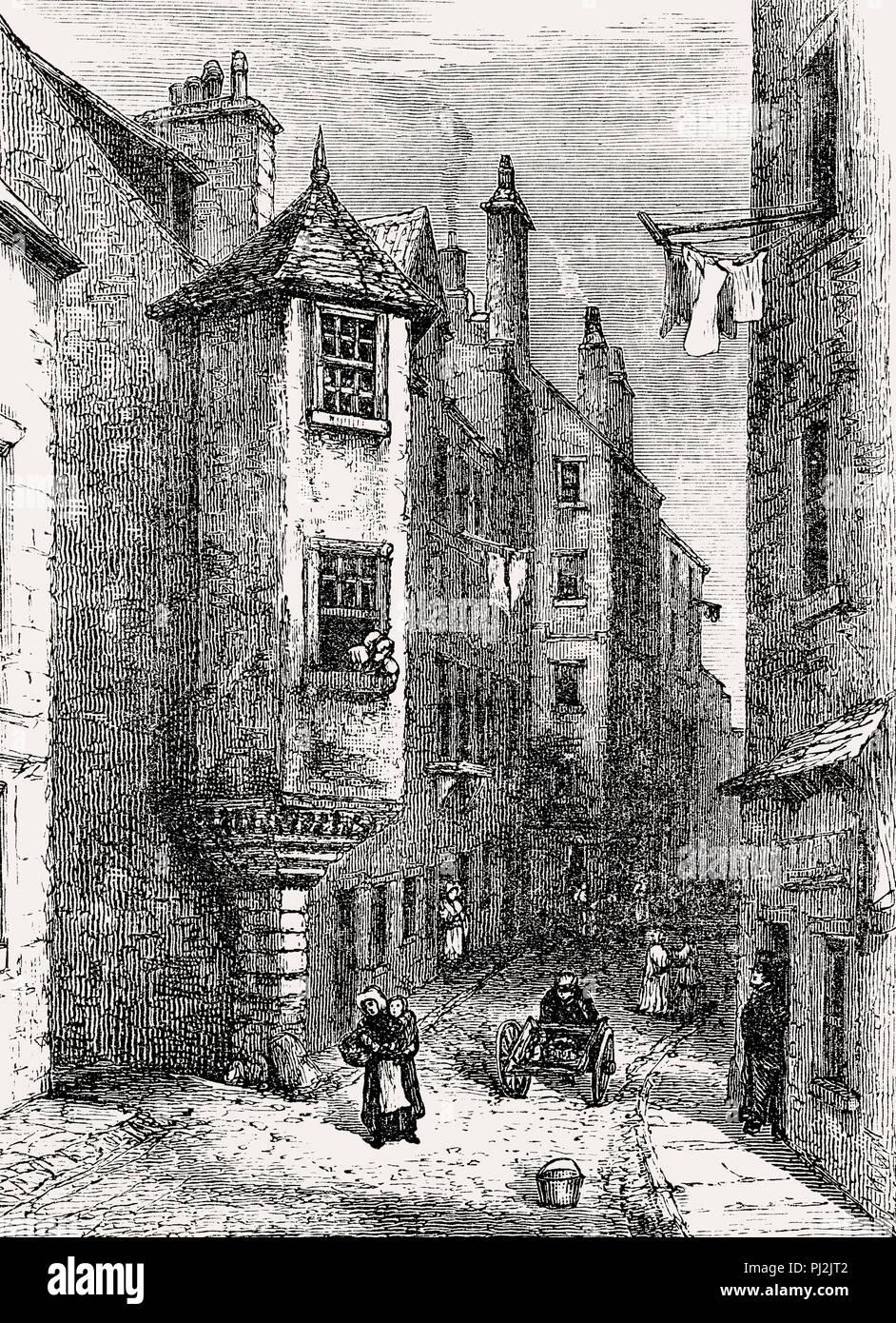 Cardinal Beaton's House, house of James Beaton, Archbishop of Glasgow, 16th century, Edinburgh, Scotland - Stock Image